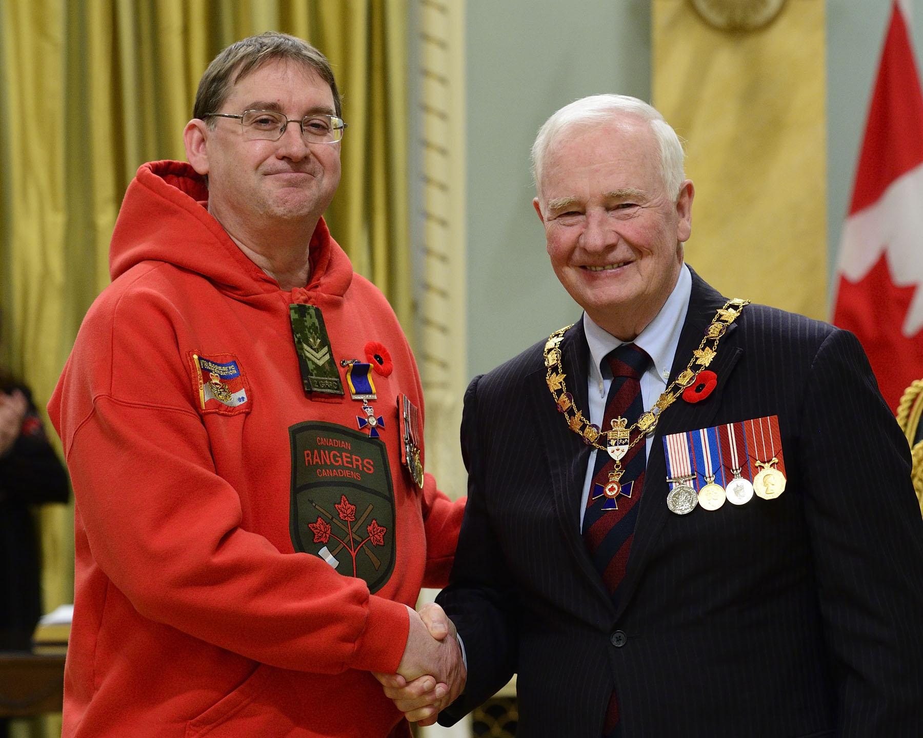 His Excellency presented the Order of Military Merit at the Member level (M.M.M.) to Ranger Martin Scott, M.M.M., C.D., Aupaluk Canadian Ranger Patrol, Aupaluk, Quebec.