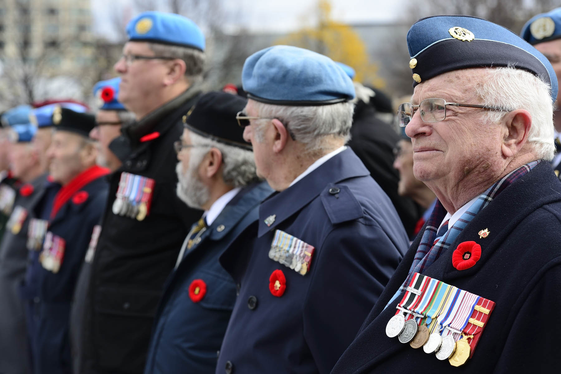 On this day of mourning, veterans stood up proudly at the foot of the National War Memorial.