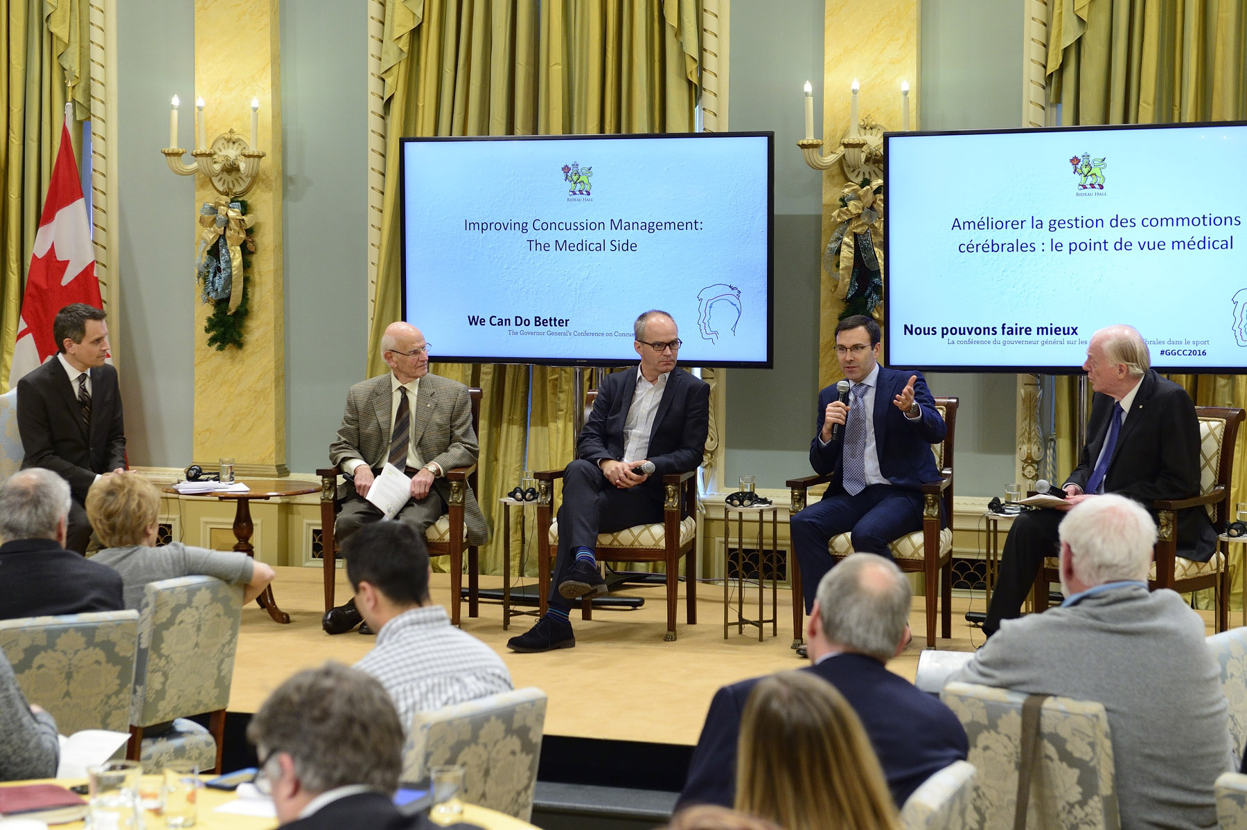 "The third panel ""Improving Concussion Management–The Medical Perspective"" gathered Canadian medical experts on the issue of concussions. Featured on this panel were (from left to right) Dr. Charles Tator, Neurosurgeon at Krembil Neuroscience Centre and Toronto Western Hospital, Dr. Pierre Frémont, Professor at the Faculty of Medicine at Laval University and Chair of the Canadian Concussion Collaborative, Dr. Roger Zemek, Associate Professor and Director of Clinical Research at Children's Hospital of Eastern Ontario, and Dr. David Mulder, Team Physician with the Montreal Canadiens."
