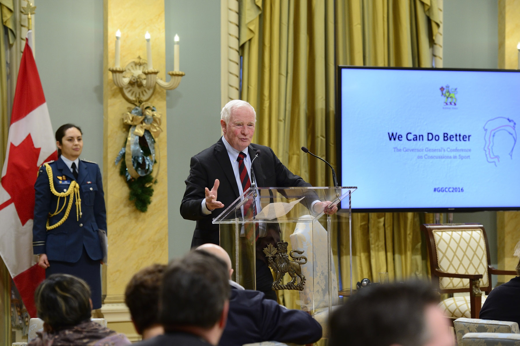 His Excellency concluded the conference with closing remarks. The conference was hosted by the Governor General and driven by his strong desire for Canadian youth to play safe and to continue to get involved in sport and physical activity. Its objectives were to bring together federal, provincial and territorial government representatives and key stakeholders in the sport, recreation, health and education sectors to advance collaboration in the development of a national approach to manage, detect and prevent concussions.