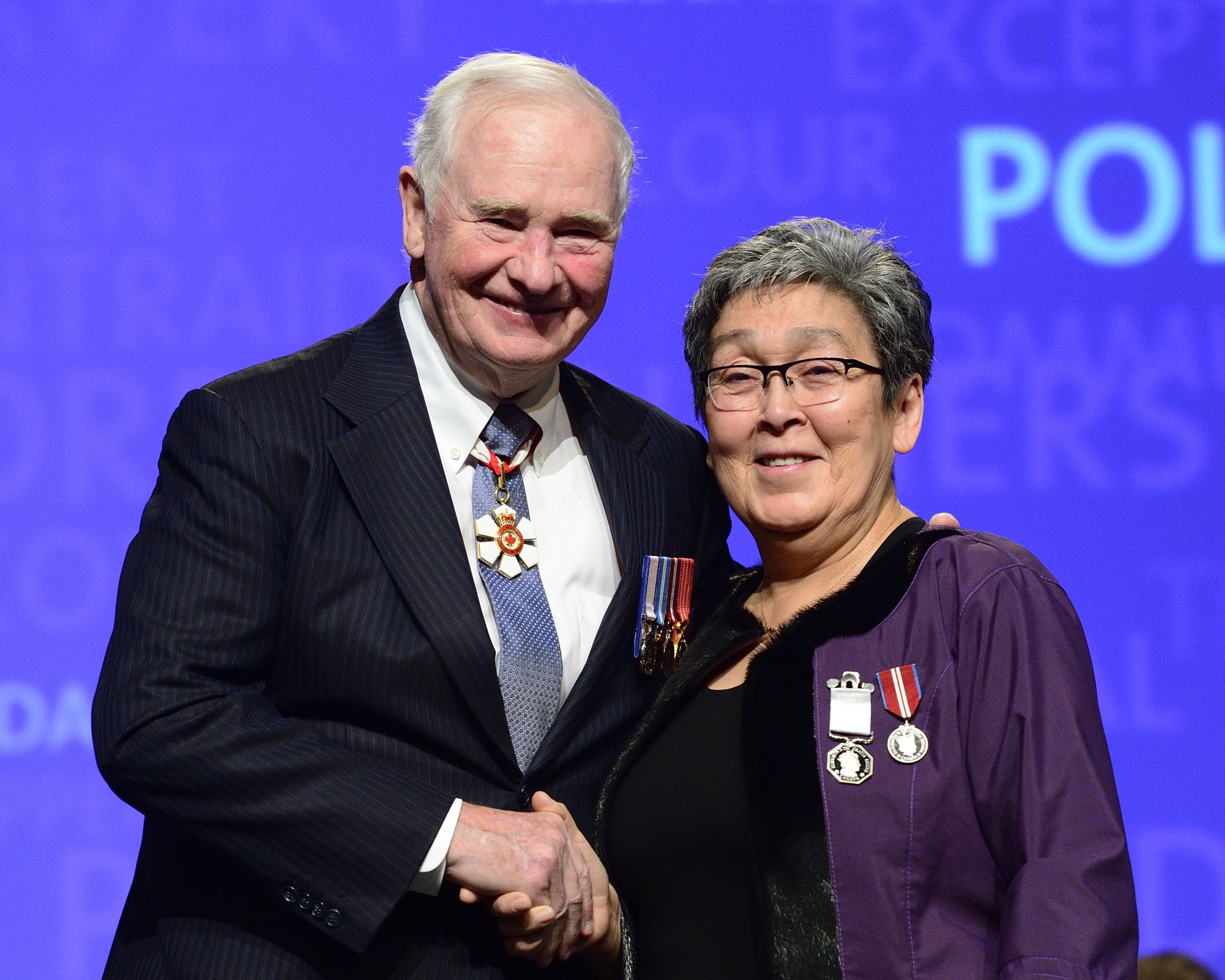 His Excellency presented the Polar Medal to Elisapi Aningmiuq. As a cultural teacher and counsellor, Elisapi Aningmiuq has developed key initiatives at the Tukisigiarvik Wellness Centre including physical health and wellness programs, food programs, suicide intervention and counselling sessions. She has been a strong advocate for rebuilding Inuit culture and identity, and has accordingly dedicated herself to preserving traditional skills and knowledge.
