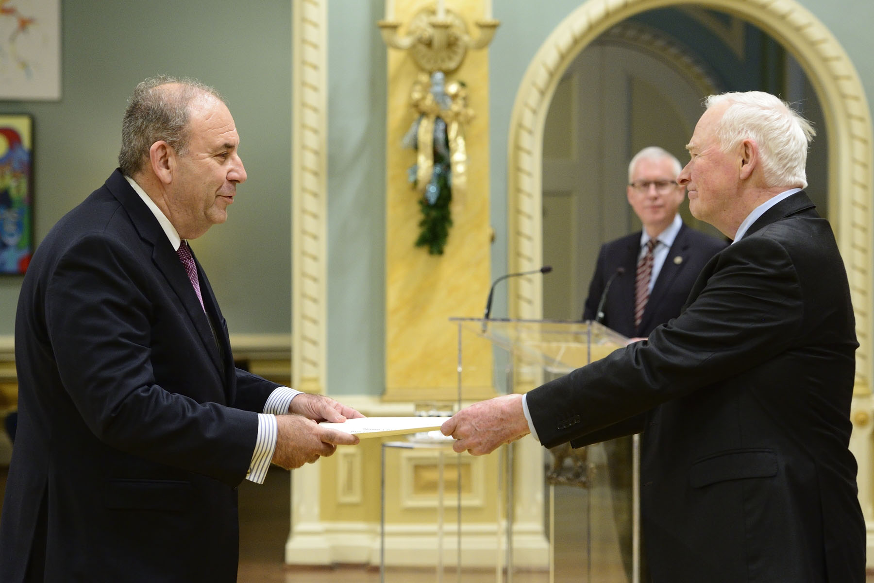 His Excellency Nimrod Barkan, Ambassador of the State of Israel was the first to present his letters of credence.