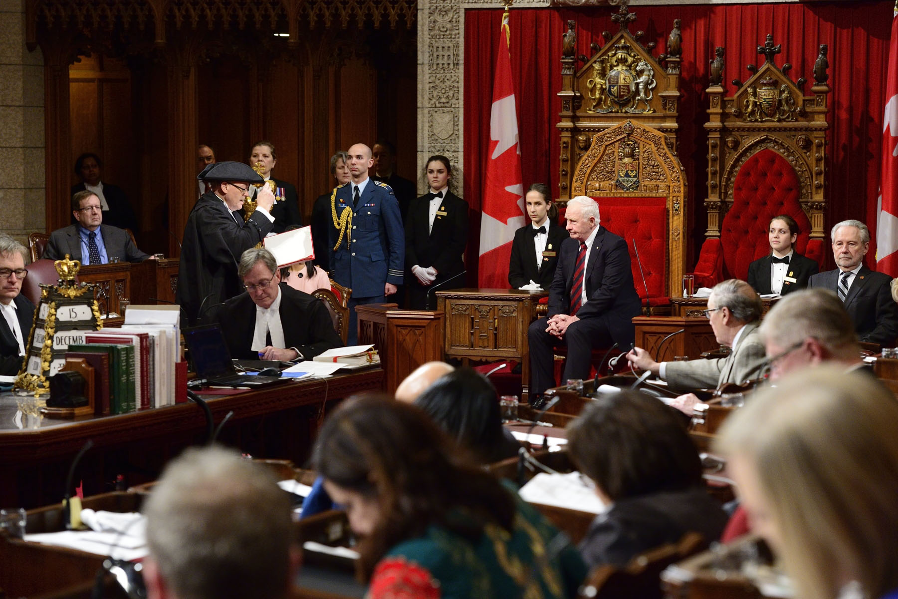 On December 15, 2016, Governor General David Johnston granted Royal Assent during a formal ceremony in the Senate Chamber.