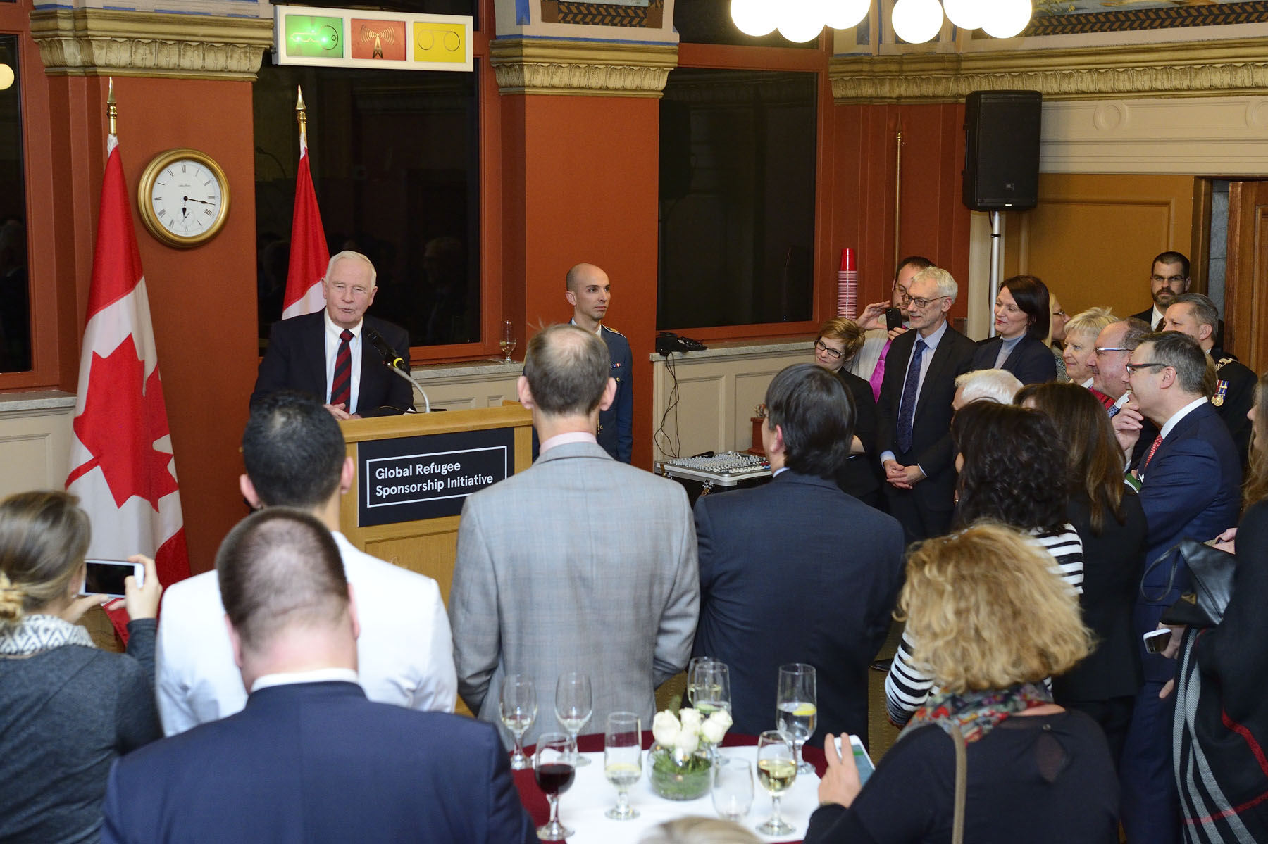 His Excellency the Right Honourable David Johnston, Governor General of Canada, addressed participants at the Global Refugee Sponsorship Initiative reception held on Parliament Hill on December 15, 2016.