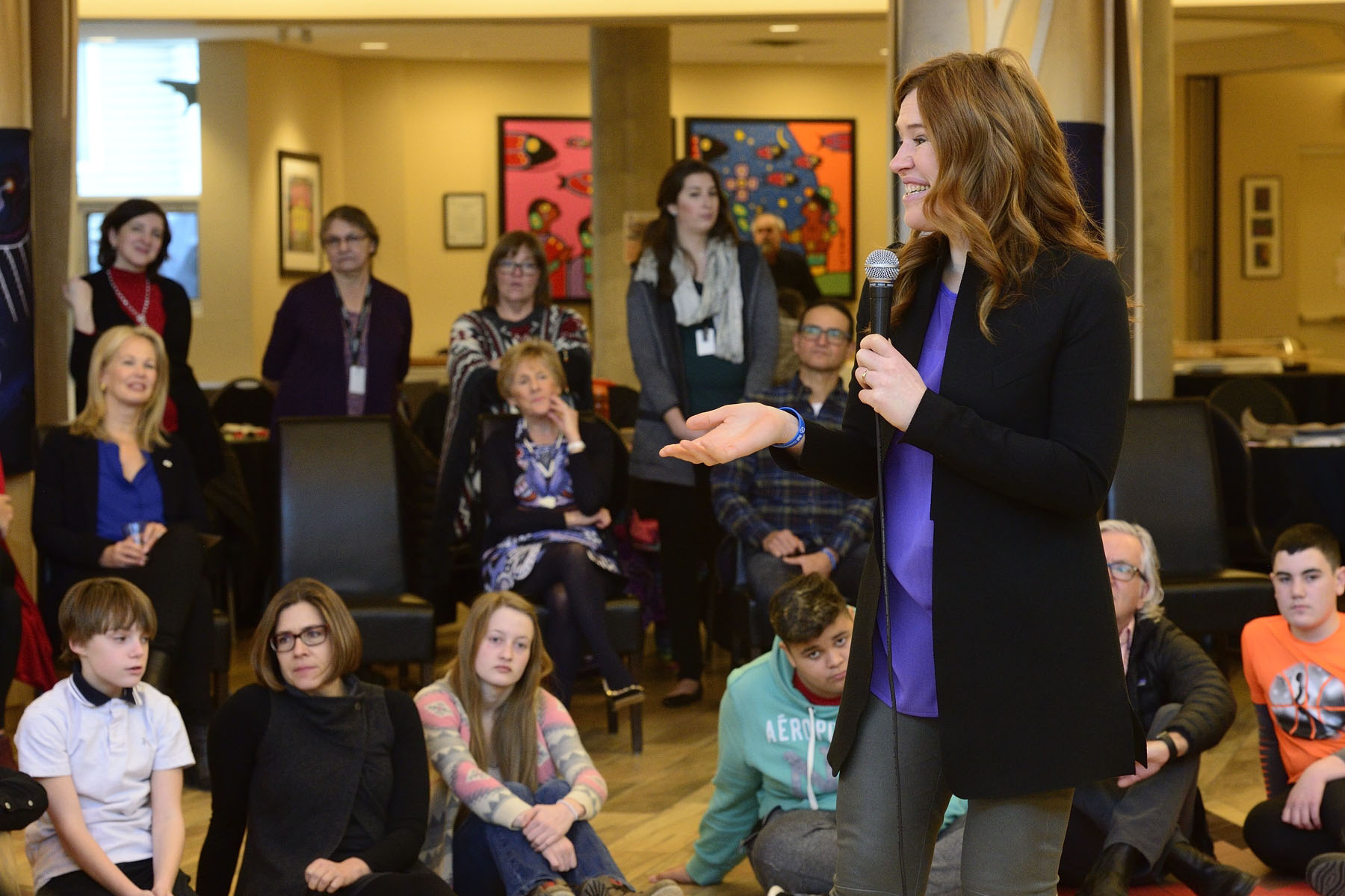Clara Hughes shared with the youth some of the things that she feels grateful for.