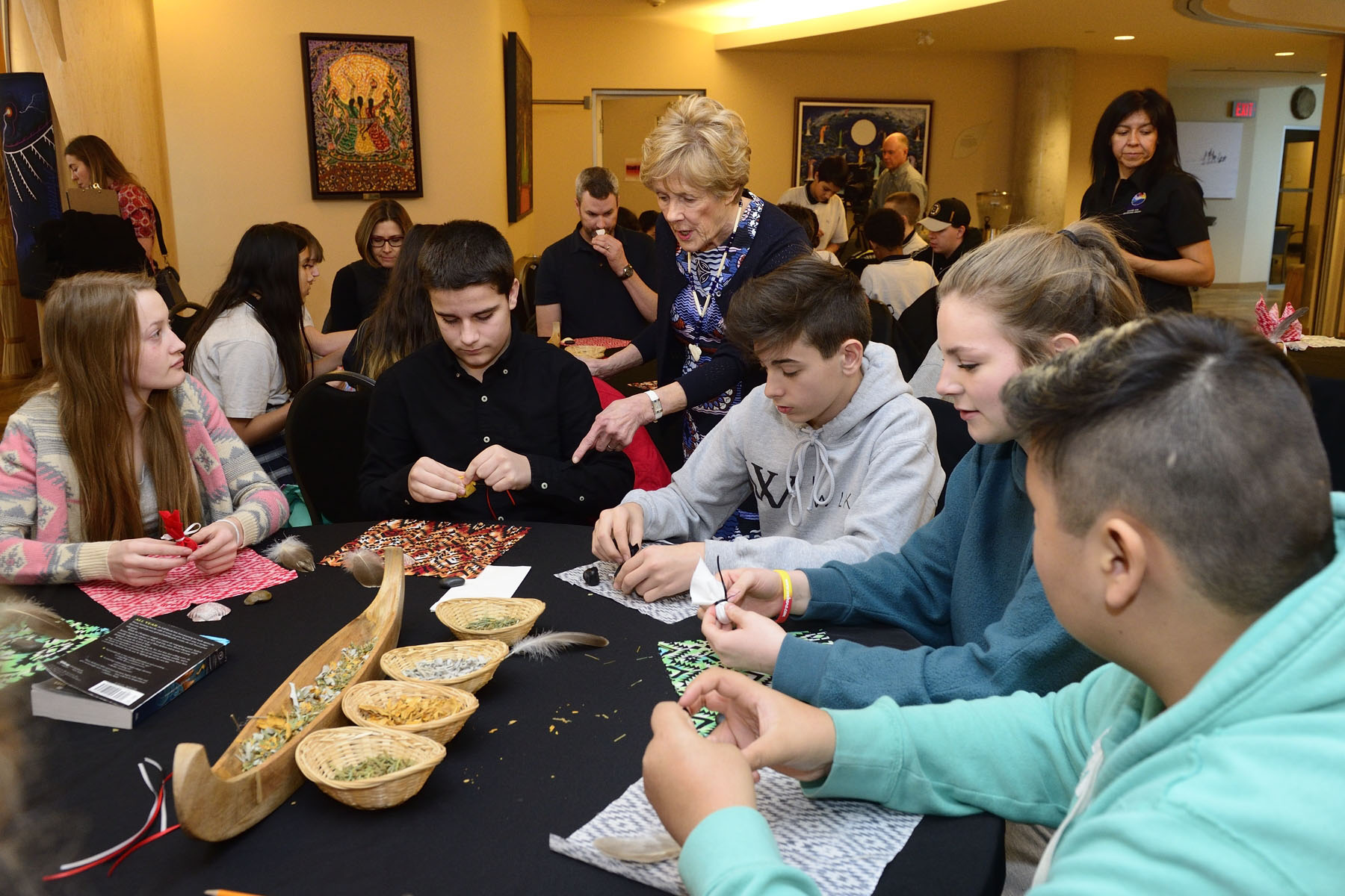 Youth learned how to make traditional medicine pouches.