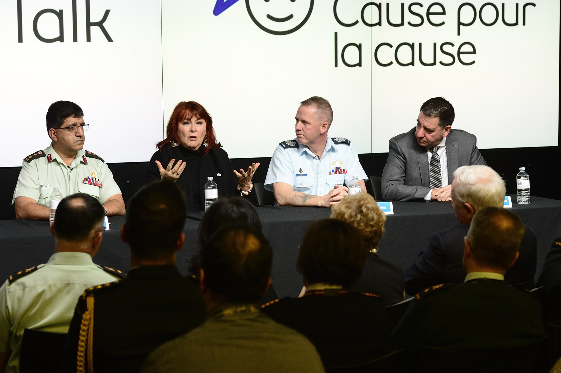 The panelists included Bell Let's Talk spokesperson Mary Walsh, Chief Warrant Officer Kevin West, Colonel Rakesh Jetly, Lieutenant-Commander Lyn Kingsley, and Director General Workplace Management Gilles Moreau.