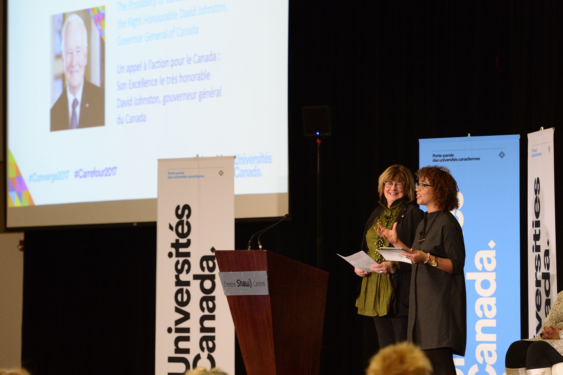 Converge 2017 was a dialogue hosted by Universities Canada. The MCs for the event were Shelagh Rogers and Myriam Fehmiu.
