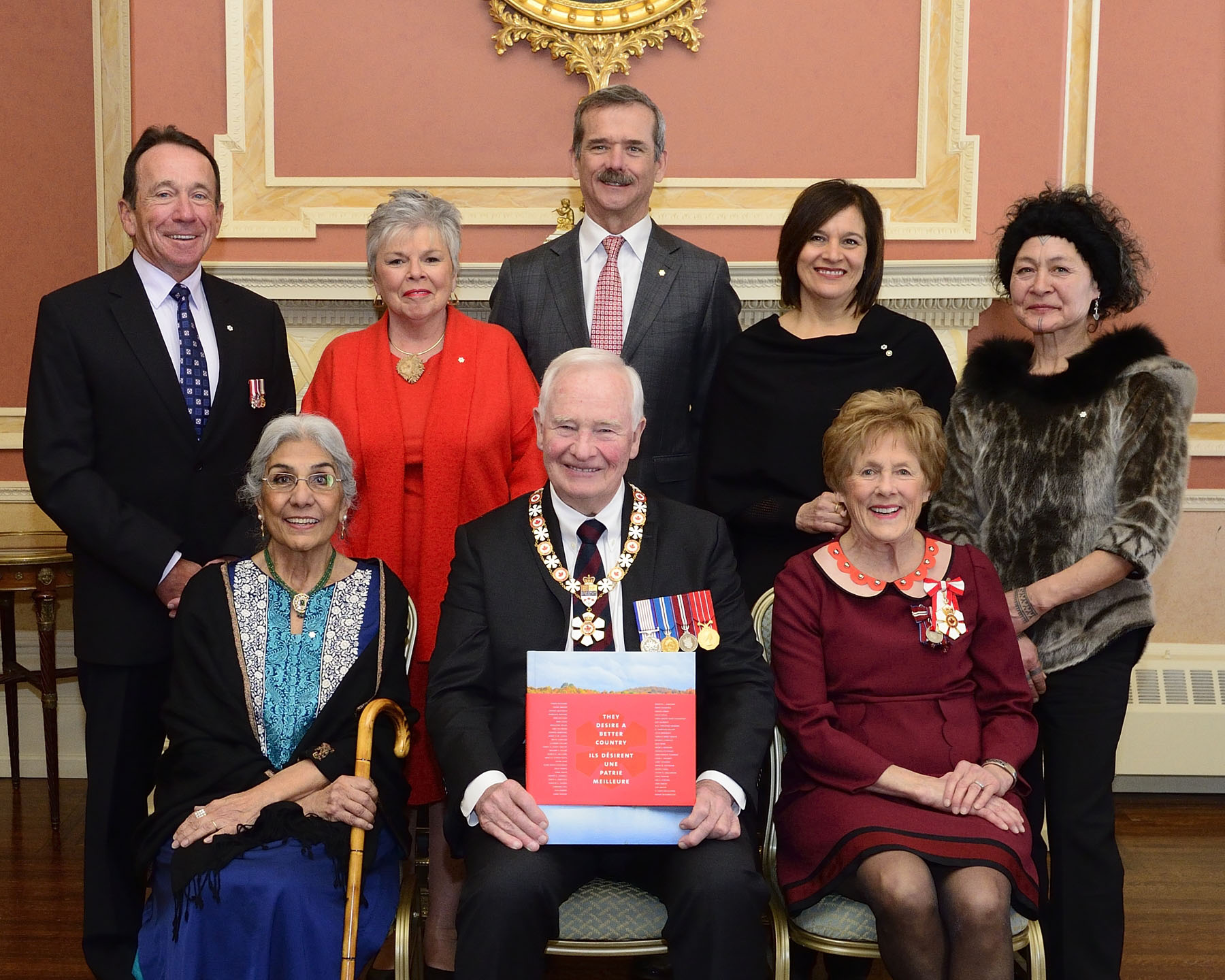 Some of the Order of Canada members featured in the book They Desire a Better Country: The Order of Canada in 50 Stories attended this special ceremony. Back row, from left to right: John Stanton, Roberta L. Jamieson, Chris A. Hadfield, Édith Cloutier and Aaju Peter. Front row: Alia Hogben and Their Excellencies.