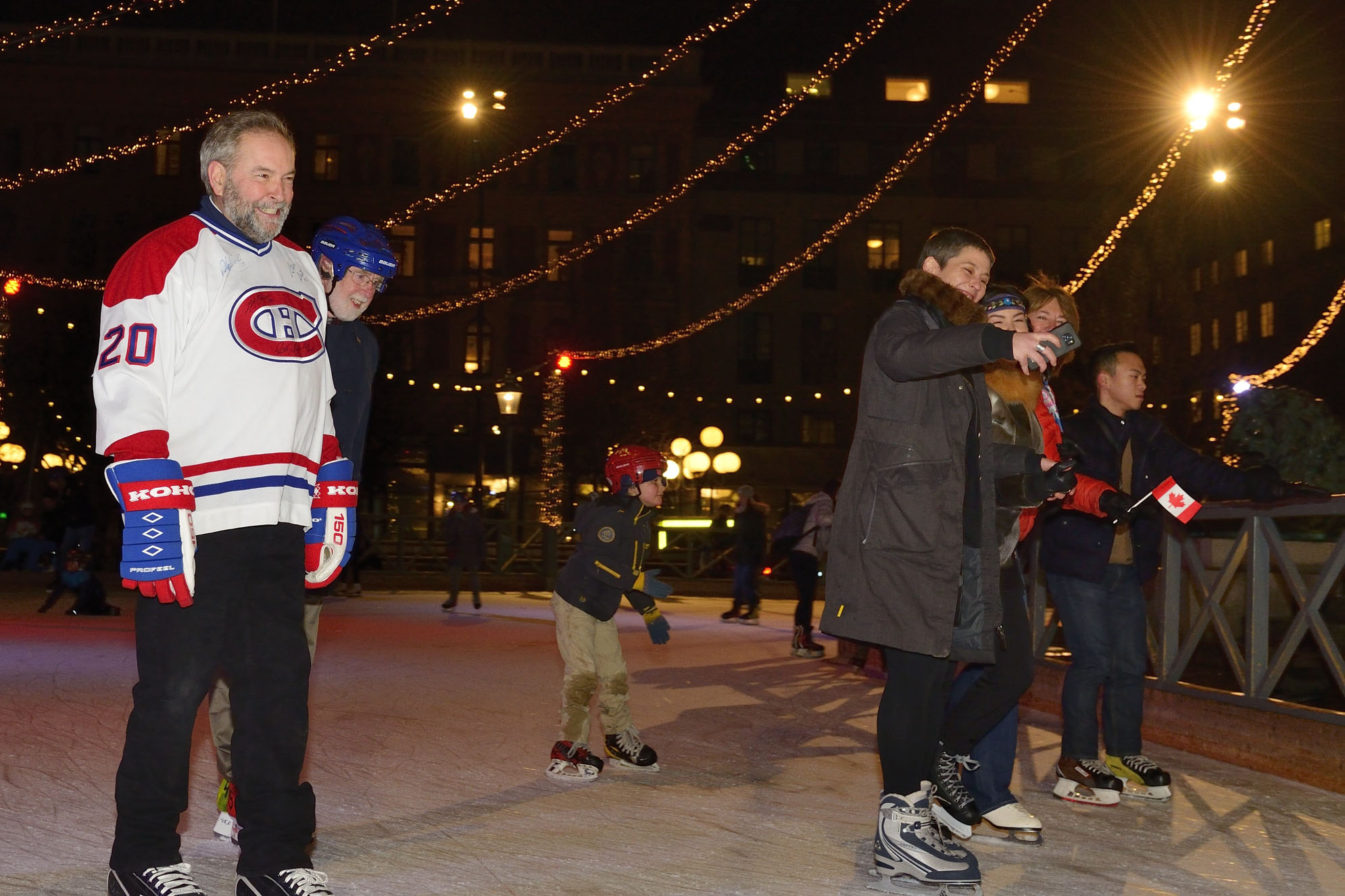 Canadian delegate and Leader of the New Democratic party of Canada Thomas Mulcair joined in the fun on skates.