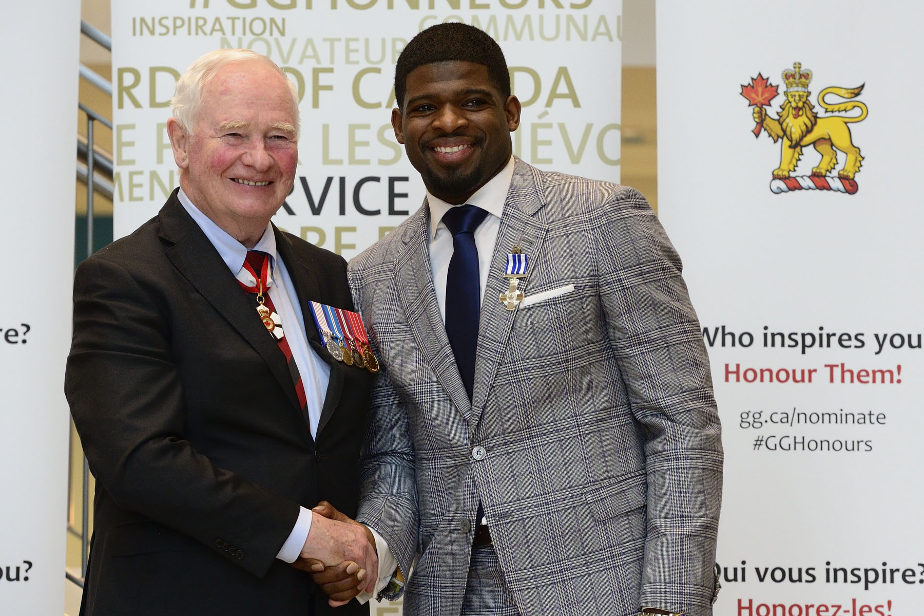 His Excellency presented a Meritorious Service Decoration (Civil Division) to Mr. Pernell-Karl (P.K.) Subban. The Meritorious Service Decorations were established to recognize the extraordinary people who make Canada proud. Their acts are often innovative, set an example or model for others to follow, or respond to a particular challenge faced by a community. Recipients inspire others through their motivation to find solutions to specific and pressing needs or provide an important service to their community or country.