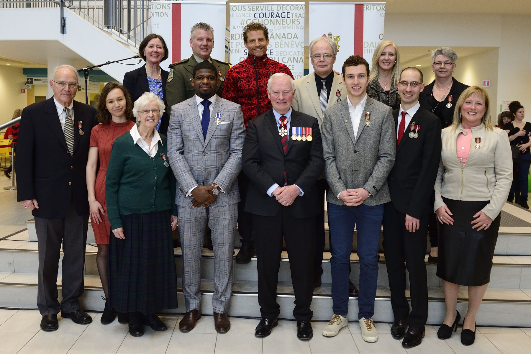 His Excellency the Right Honourable David Johnston, Governor General of Canada, presented a Meritorious Service Decoration (Civil Division) to Mr. Pernell-Karl (P.K.) Subban and the Sovereign's Medal for Volunteers to 12 deserving individuals from the Montréal region.