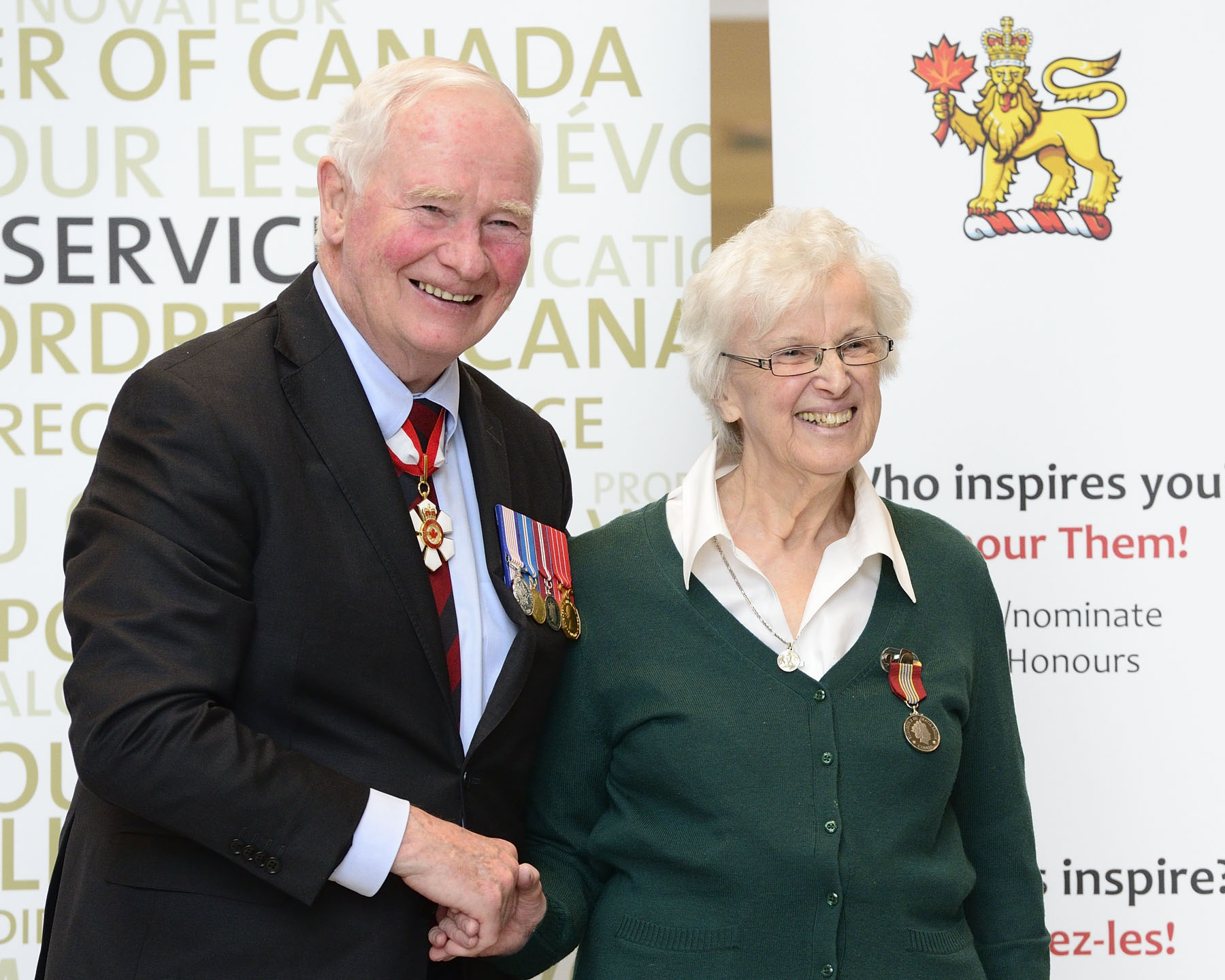His Excellency presented the Sovereign's Medal for Volunteers to Virginia Lafleur. Since retiring in 1998, Sister Virginia has given of her time and attention to those in need in the Montréal community. She has helped shelter the homeless, feed the hungry, shepherd the ailing to medical appointments, and bring comfort to critically ill infants and their parents during difficult times.