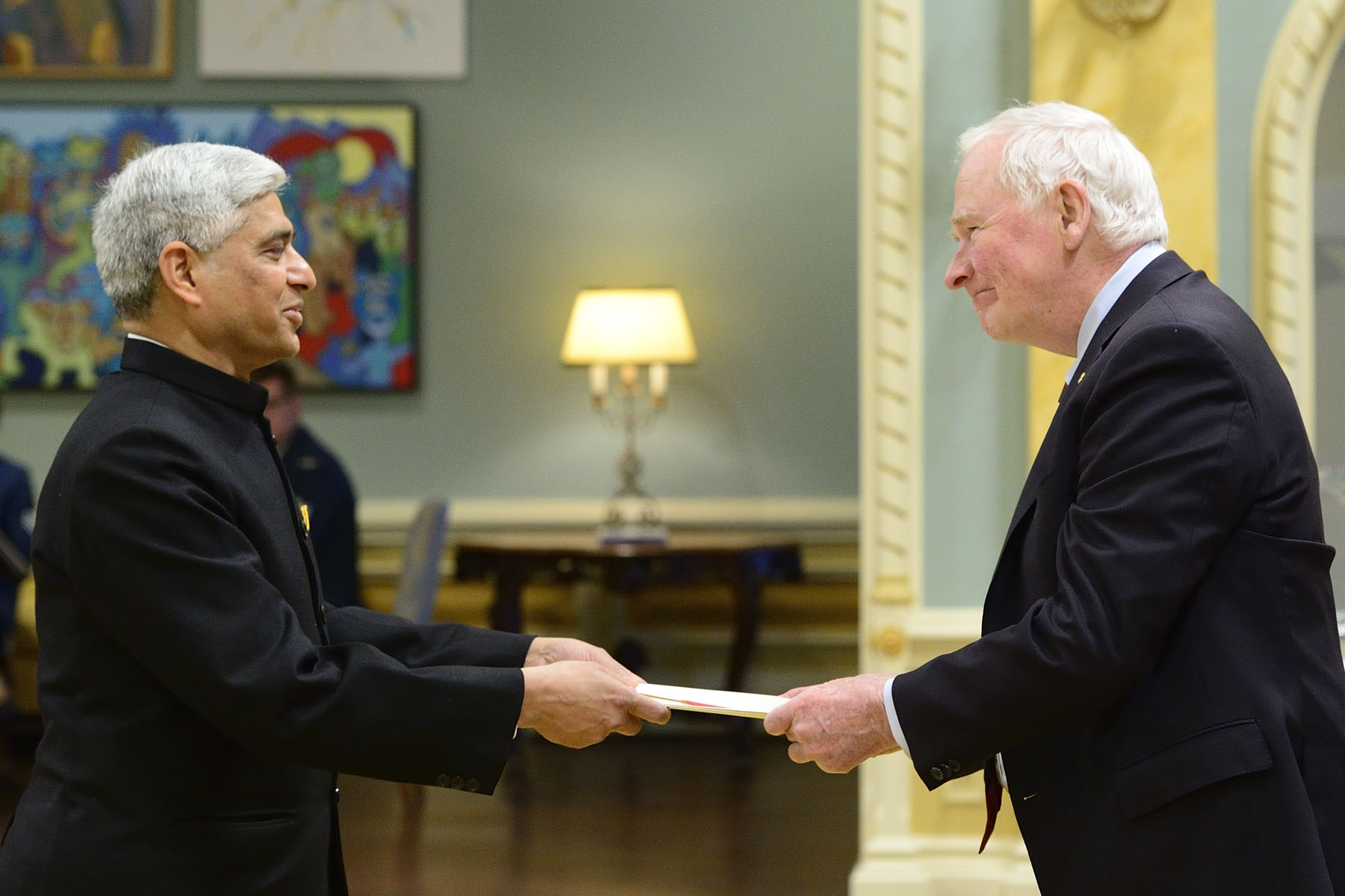 The first to present his letters of credence was His Excellency Vikas Swarup, High Commissioner of the Republic of India.