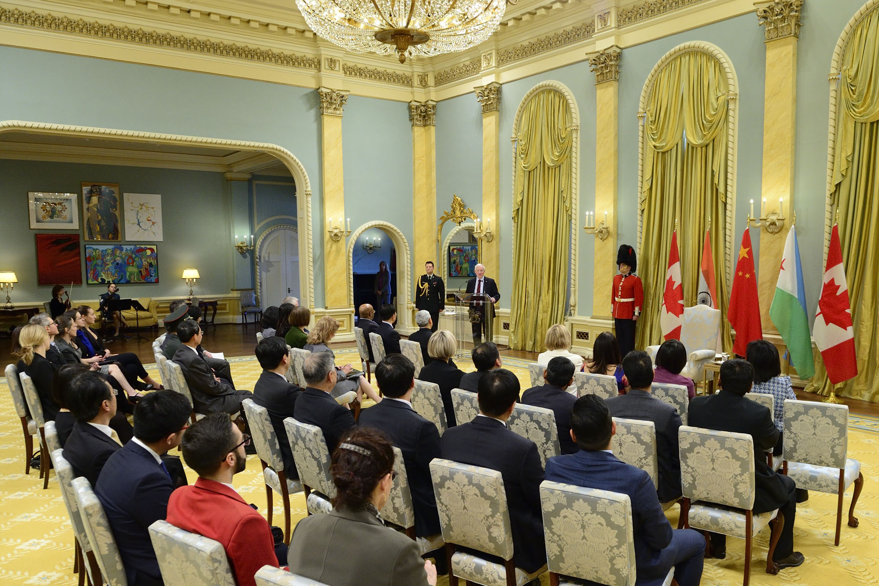 """Each of you is here representing your country and your people. You will be searching for new opportunities to work together with Canadians, and you will, I hope, be sharing with us your heritage and informing Canadians about your respective societies and your histories,"" said the Governor General."
