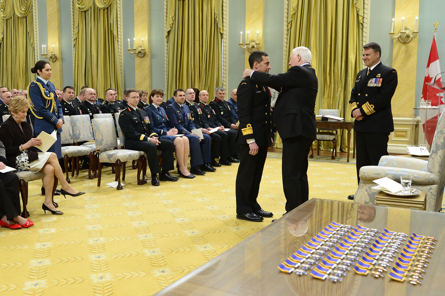 His Excellency presented the Order of Military Merit at the Commander level (C.M.M.) to Rear-Admiral Joseph Gilles Pierre Couturier, C.M.M., C.D., from the Office of the Commander, Royal Canadian Navy in Ottawa, Ontario.