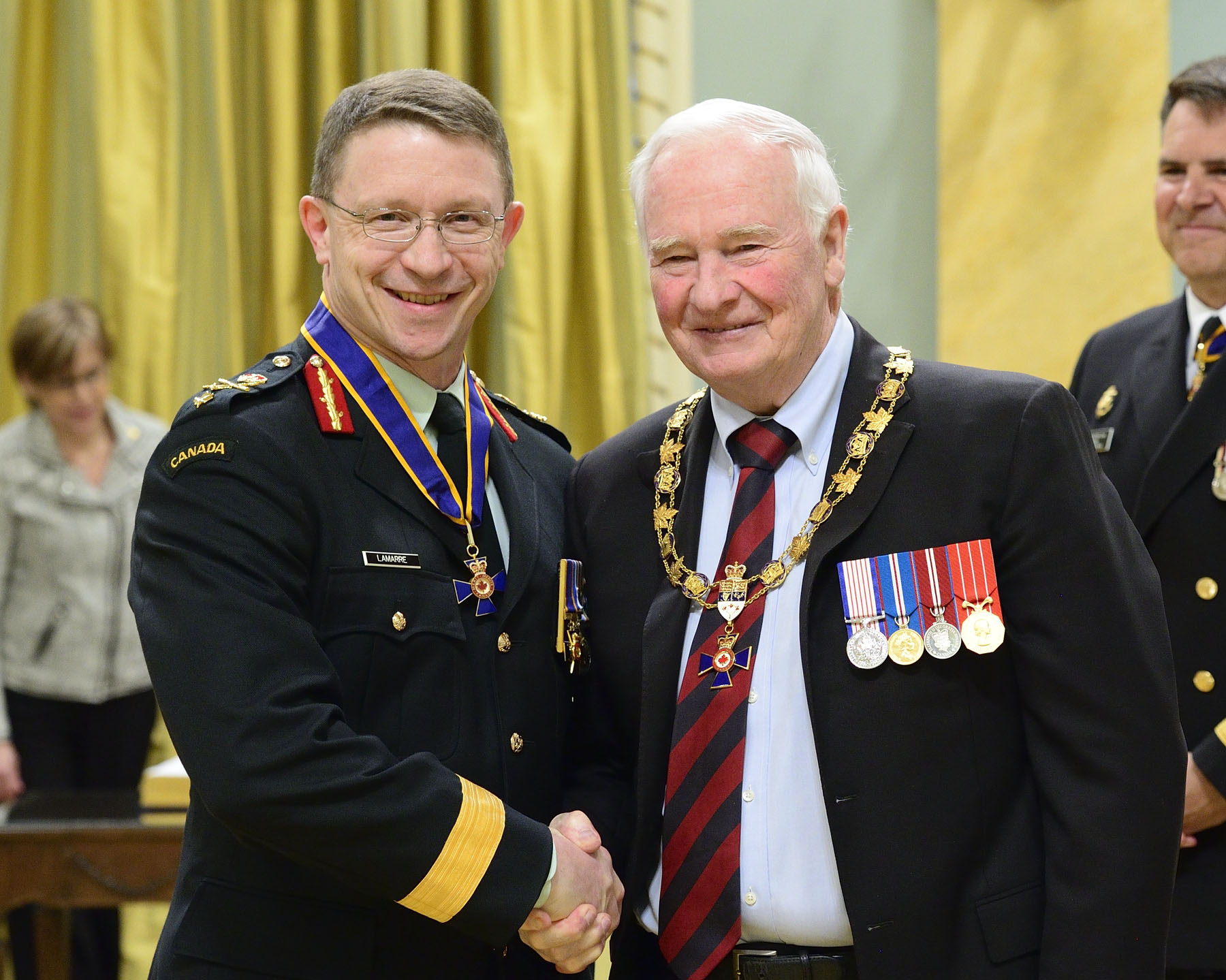 His Excellency presented the Order of Military Merit at the Commander level (C.M.M.) to Major-General Charles Adrien Lamarre, C.M.M., M.S.C., C.D., from Strategic Joint Staff in Ottawa, Ontario.