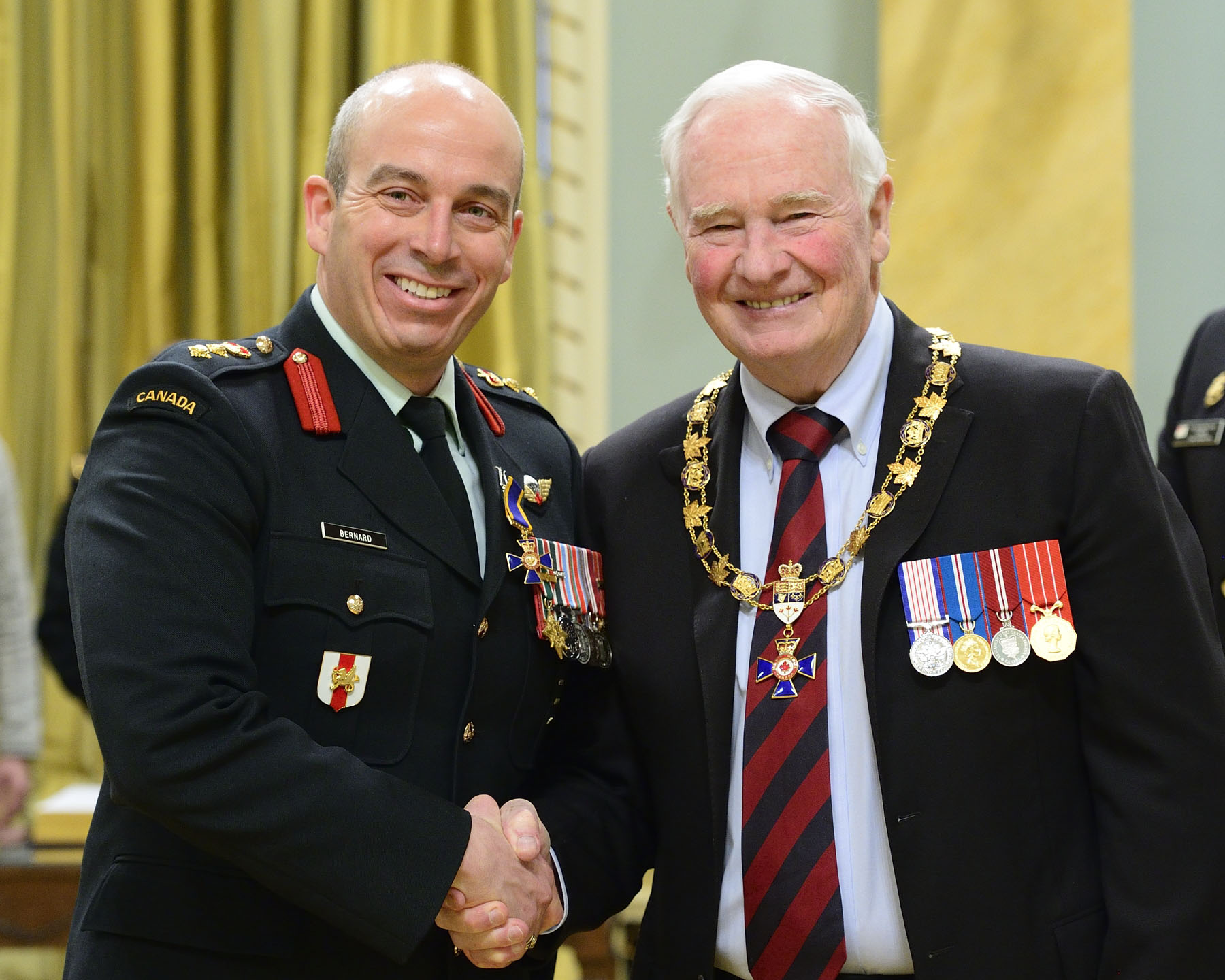 His Excellency presented the Order of Military Merit at the Officer level (O.M.M.) to Colonel Jean André Simon Bernard, O.M.M., C.D., from the Royal Military College Saint-Jean Richelain, Quebec.