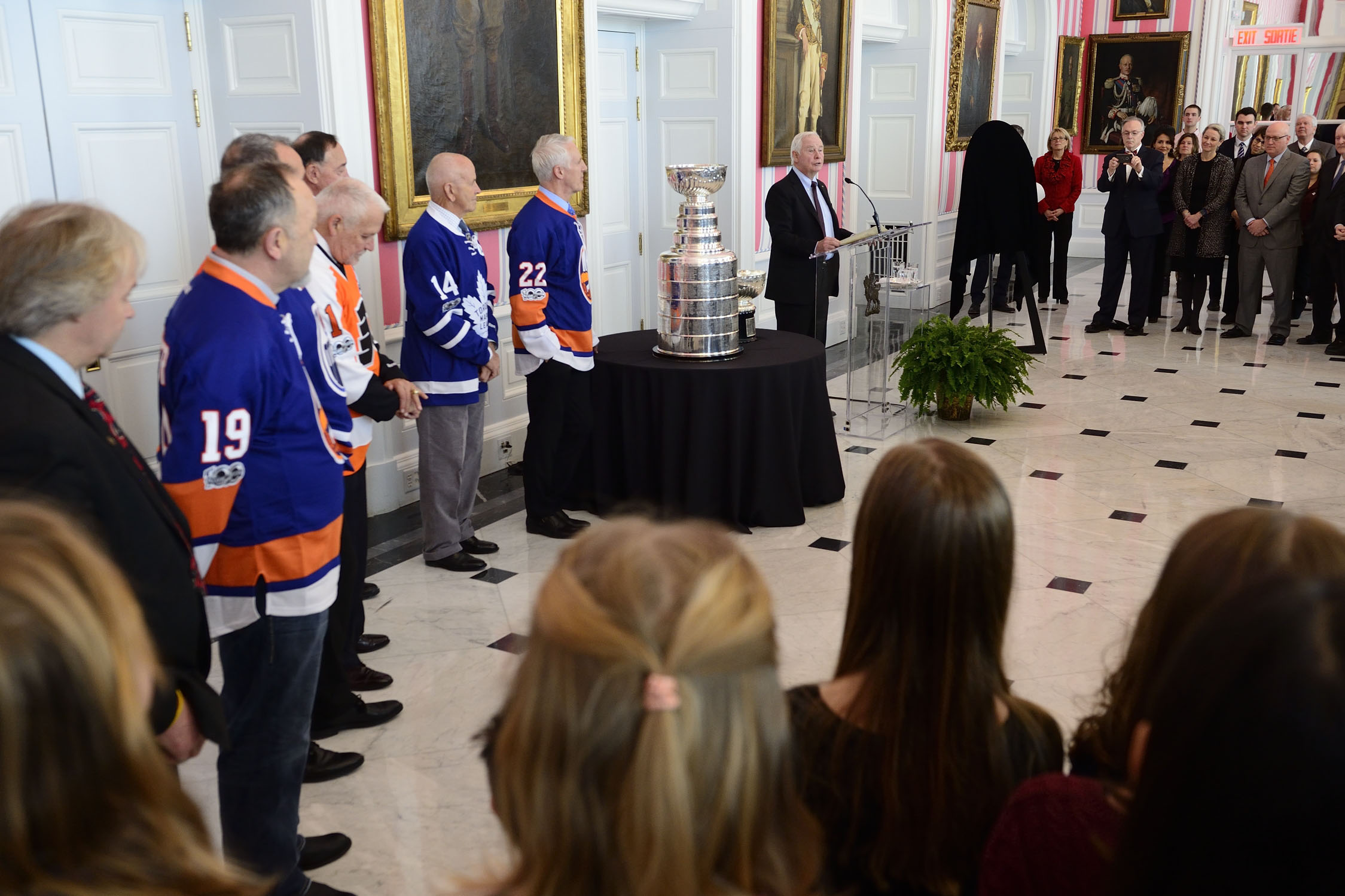 "The Governor General delivered a speech on this occasion: ""It's wonderful to have the Stanley Cup back at Rideau Hall—both the original bowl and the modern-day cup! Celebrating excellence is a big part of what we do here, and this storied trophy is a great example of that. There's something very special about seeing it in person, and we're delighted to invite members of the public to join us for a viewing and a skate on the rink this afternoon."""