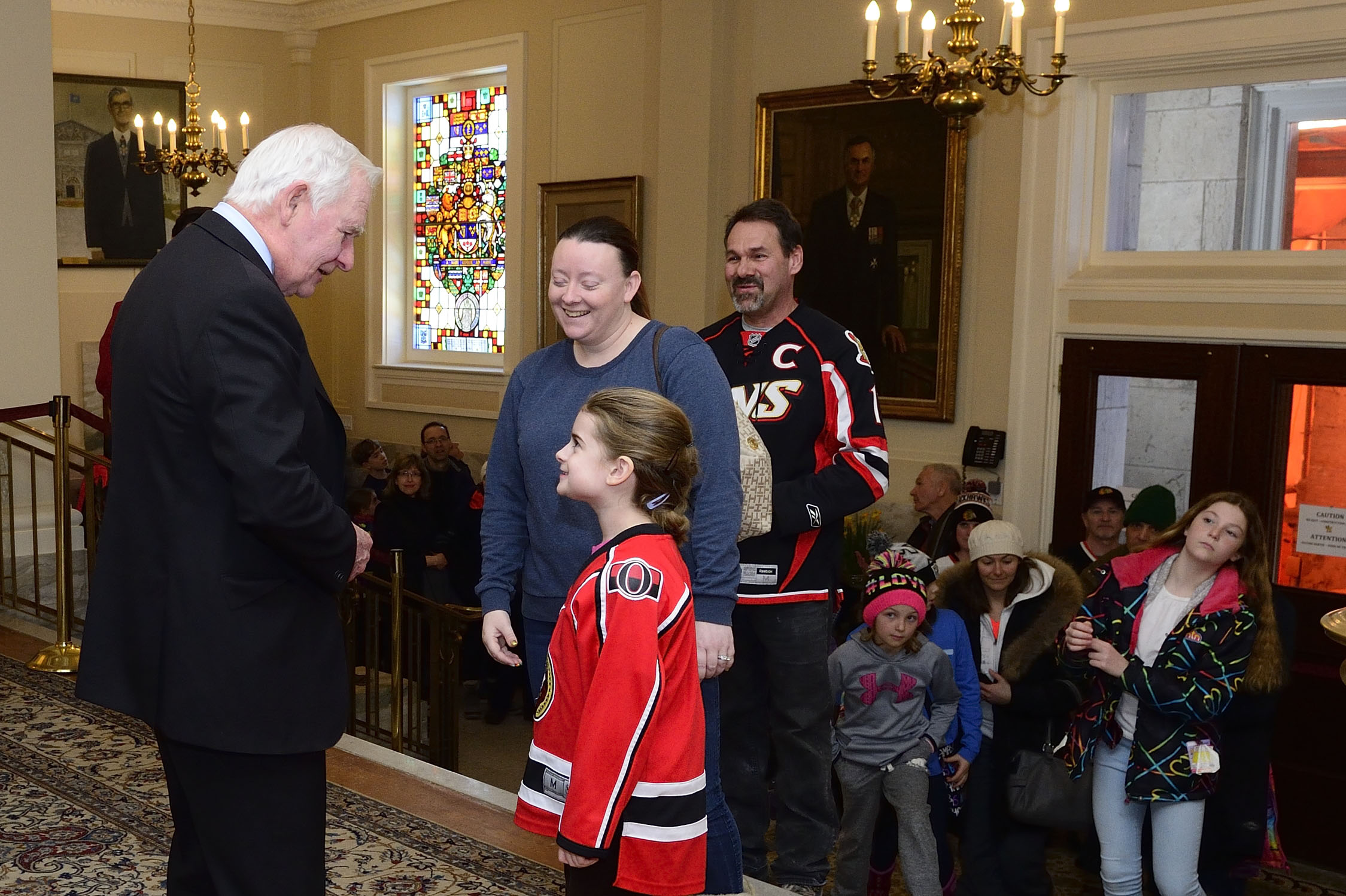 The Governor General took the time to meet with members of the public as they were waiting inside the residence to see the Stanley Cup.