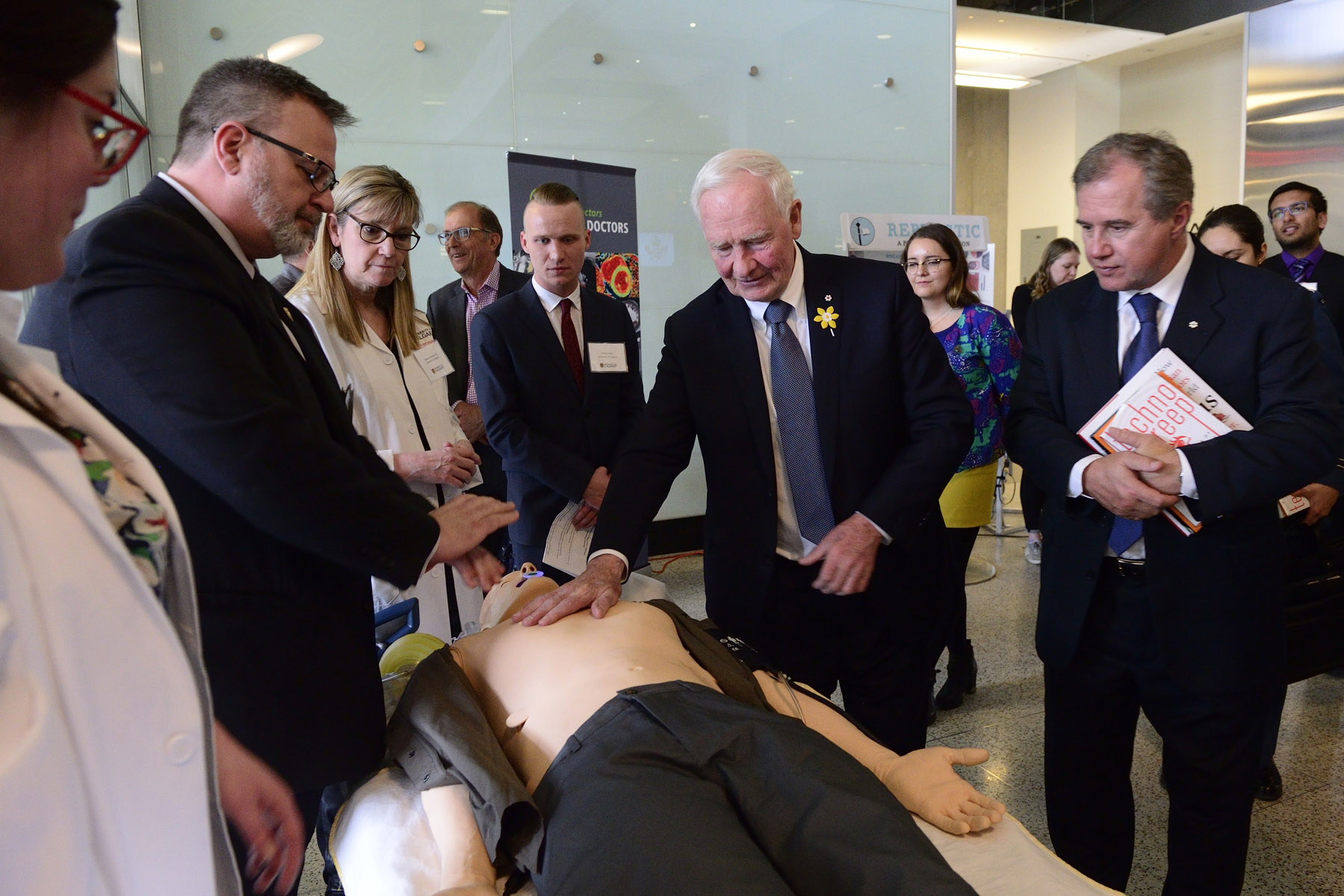 Faculty of Nursing: Staff and students demonstrated the Quality Cardiopulmonary Resuscitation (QCPR) manikin trainer that gives students real time feedback on their resuscitation skills which could directly impact patient care.