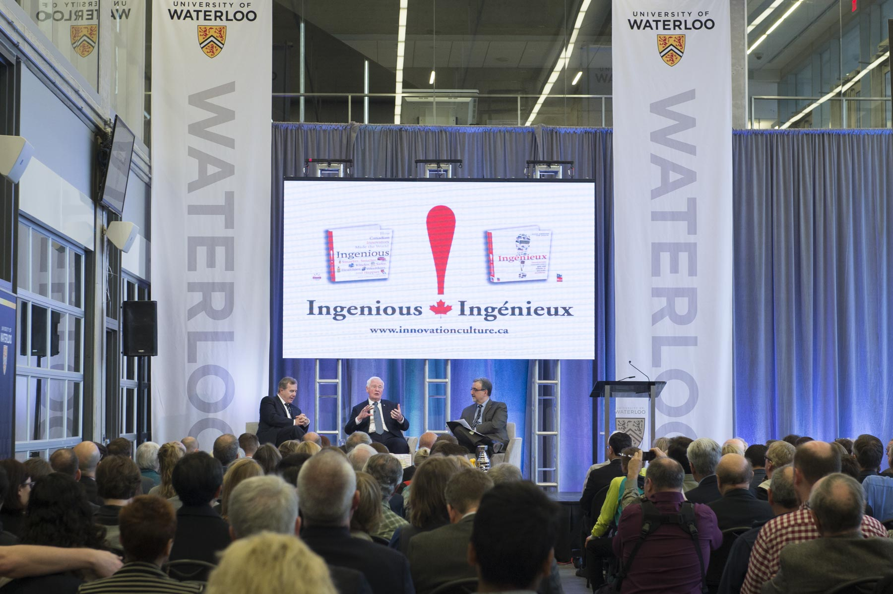 During an on-stage conversation hosted by Feridun Hamdullahpur, President and Vice-Chancellor of the University of Waterloo, the Governor General and Mr. Jenkins spoke about their book, Ingenious.