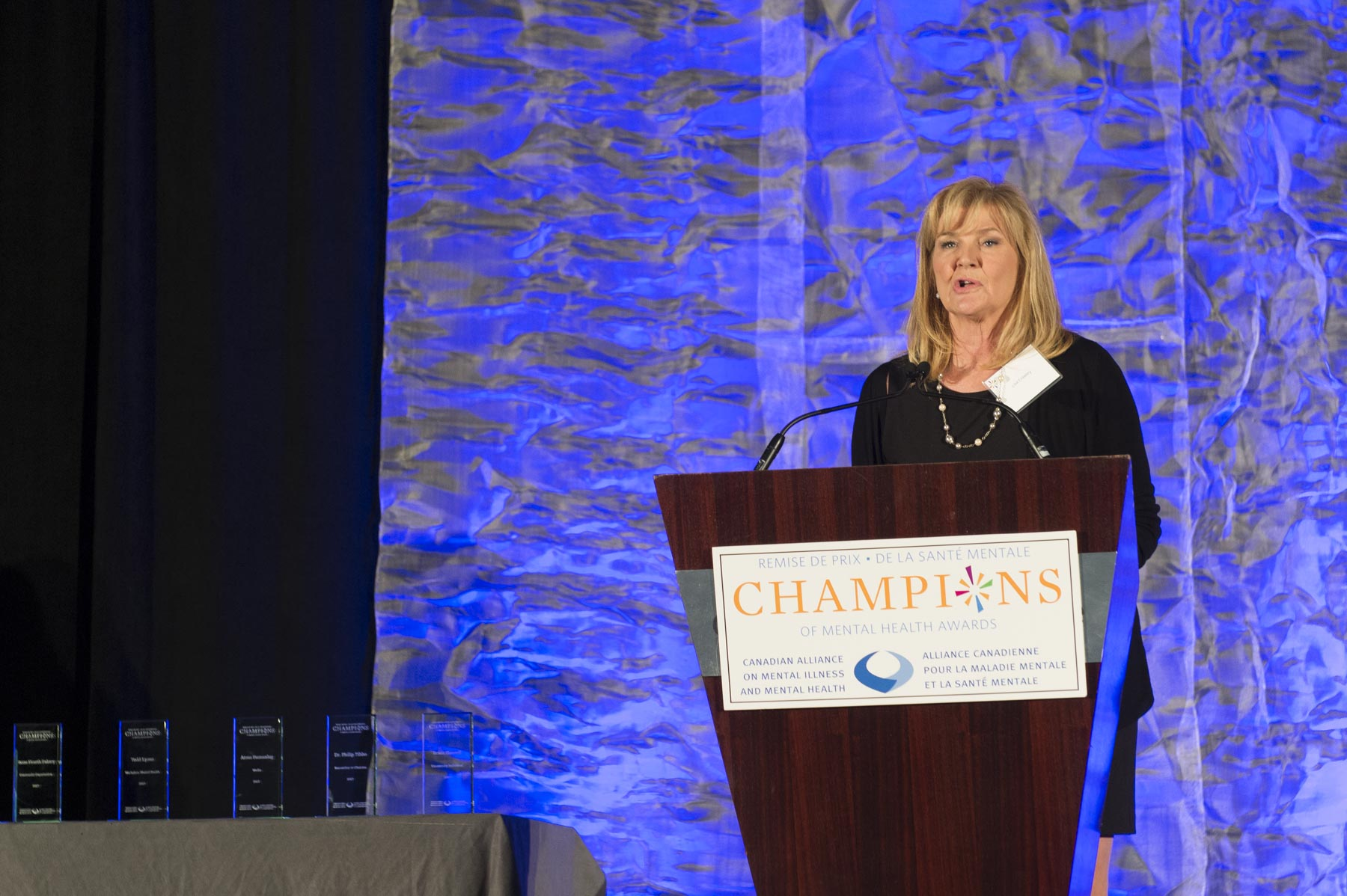 At the beginning of the gala, Ms. Lisa Crawley, Co-Chair of the Canadian Alliance on Mental Illness and Mental Health, delivered welcoming remarks. The annual Champions of Mental Health Awards recognize individuals and organizations whose outstanding contributions have advanced the mental health agenda in Canada.