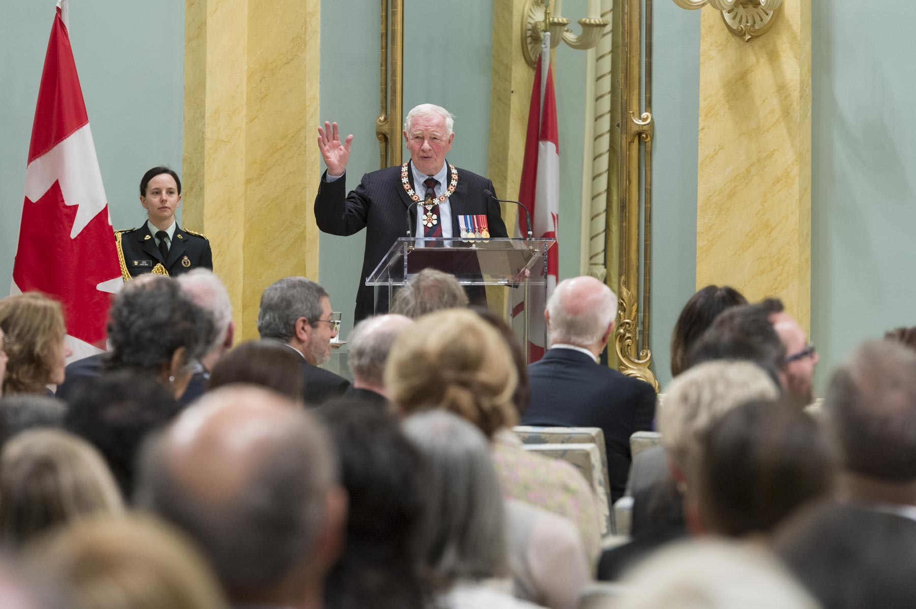 """You come from different backgrounds and fields of endeavour. Your impact is felt across Canada and around the world,"" said the Governor General. ""And you have each in your own way created smarter, fairer, more caring and more forward-looking communities. And you have enacted the motto of the Order of Canada: ""They desire a better country."" You have shown your desire and your passion for a better Canada throughout your lives. Your accomplishments speak volumes."""