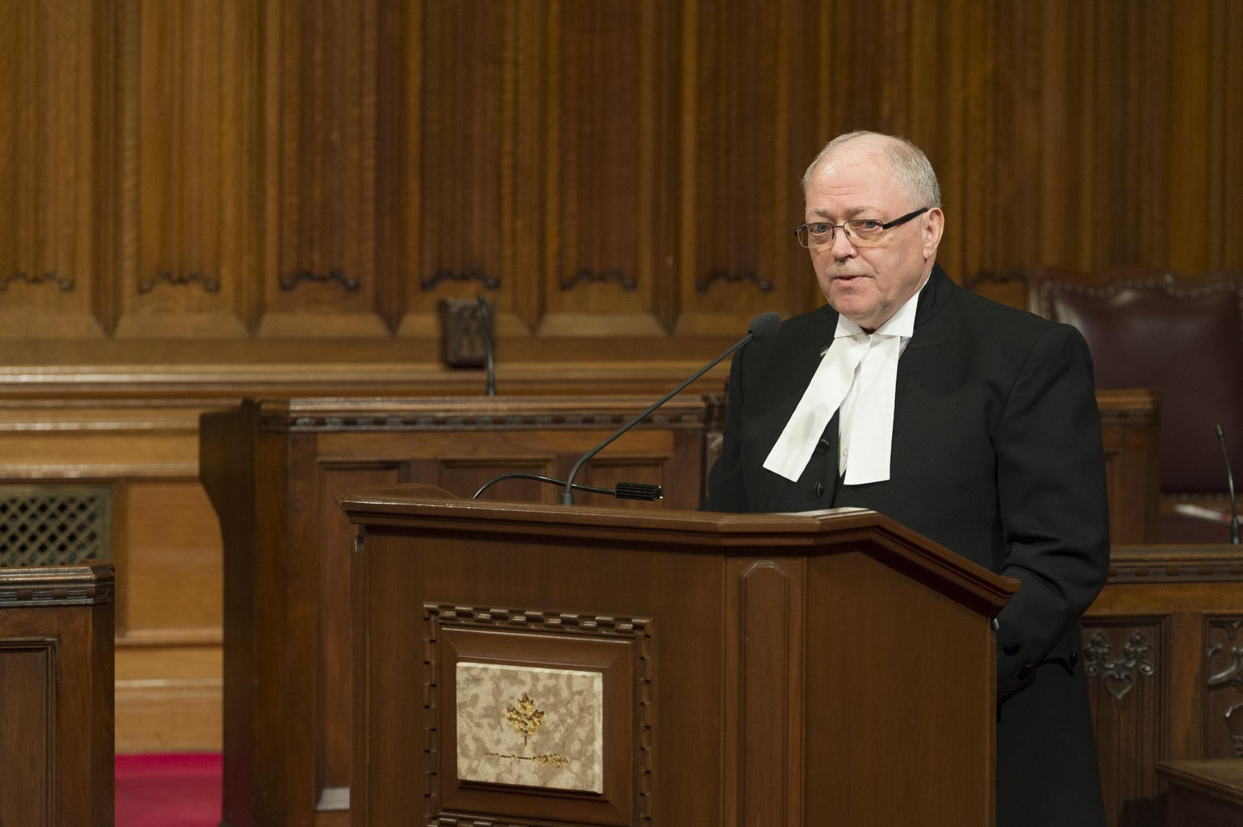 His Excellency the Right Honourable David Johnston, Governor General of Canada, attended  the Senate Symposium on the 150th Anniversary of Canadian Confederation. The Honourable George J. Furey, Speaker of the Senate, offered words of welcome.