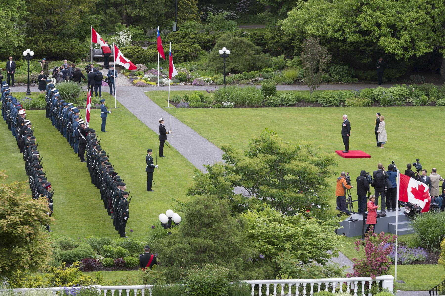 The ceremony took place in the private gardens of the official residence and workplace of the Governor General.
