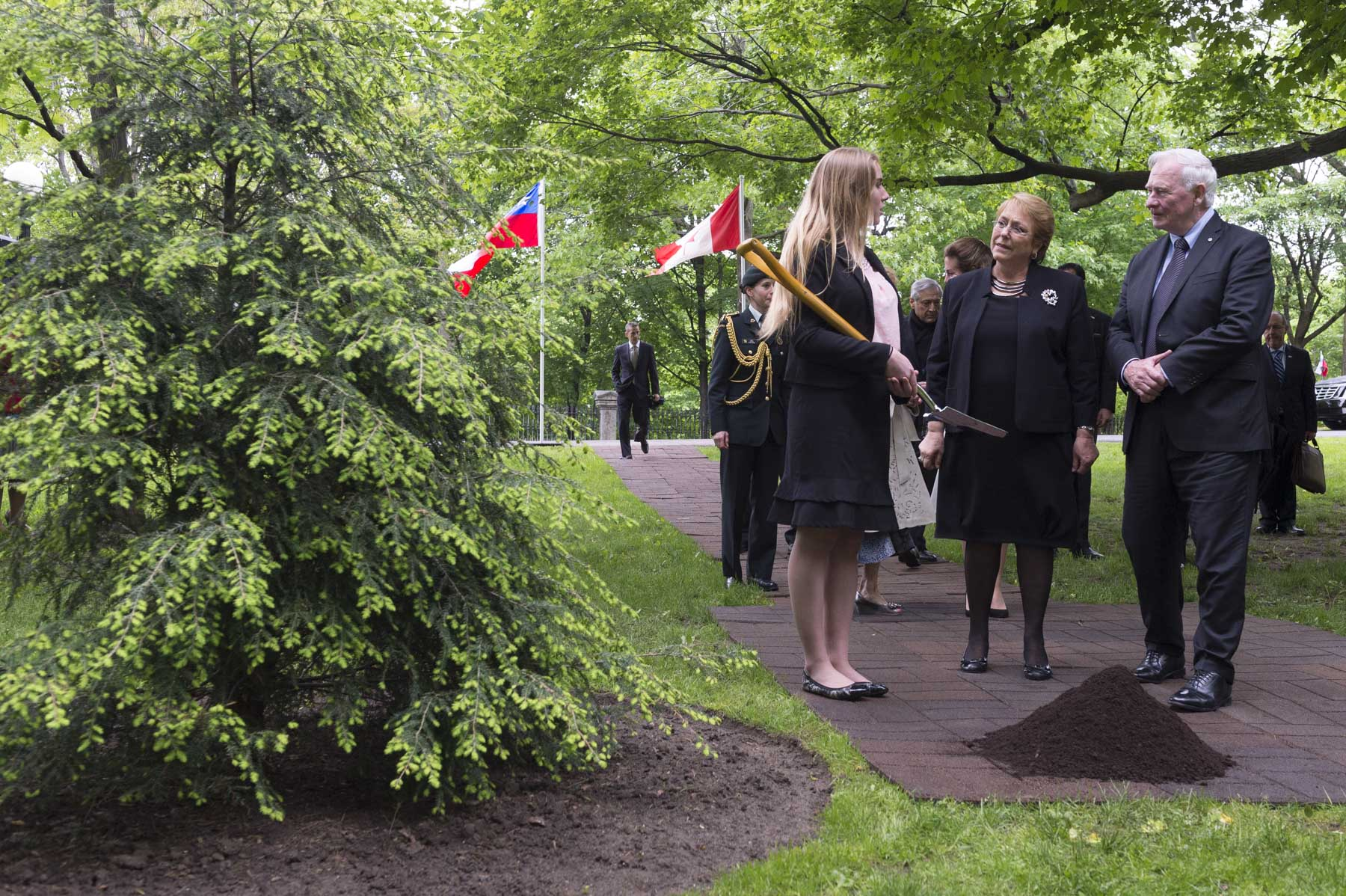 The day ended with the ceremonial tree planting on the grounds of Rideau Hall. Over 140 commemorative trees grace the grounds. They mark visits by members of the Royal Family, heads of State and other dignitaries.
