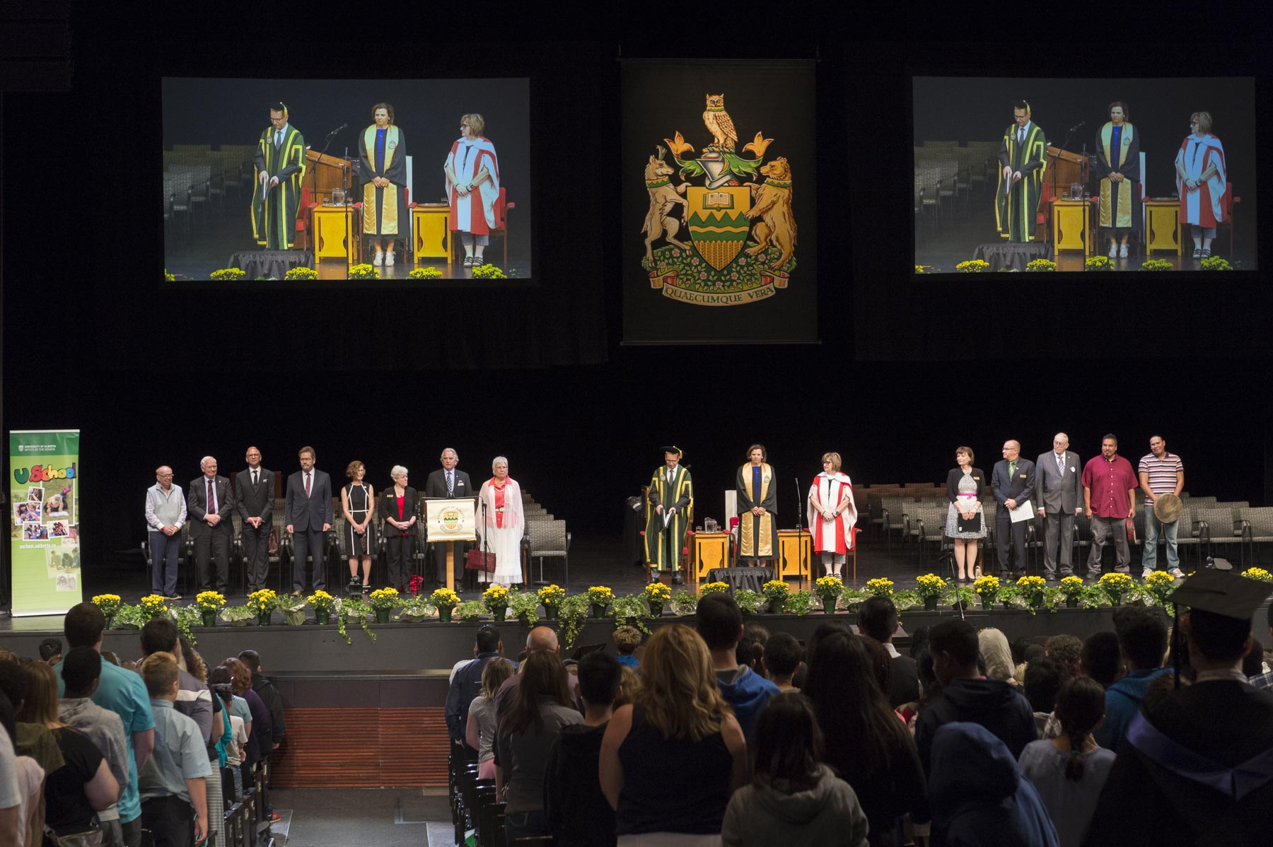 His Excellency began his day in Edmonton at the U School Convocation Graduation Ceremony at the University of Alberta on June 6, 2017. In the past year, approximately 700 students participated in U School, a program that caters to learners in grades 4 through 9 from schools in socially vulnerable, Indigenous (First Nations, Métis and Inuit) and rural communities. Accompanied by their classroom teachers, the students attend a week-long immersion experience on campus led by a U School staff team. Their schedule is built around the teacher's application, the Alberta curriculum and the many opportunities available at the University of Alberta.