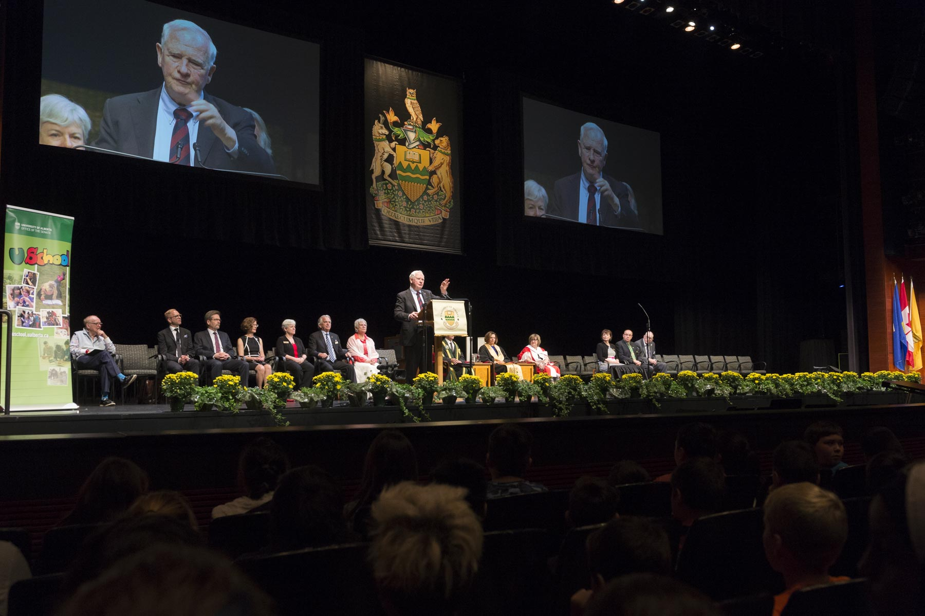 The Governor General addressed the 700 students gathered in the auditorium.