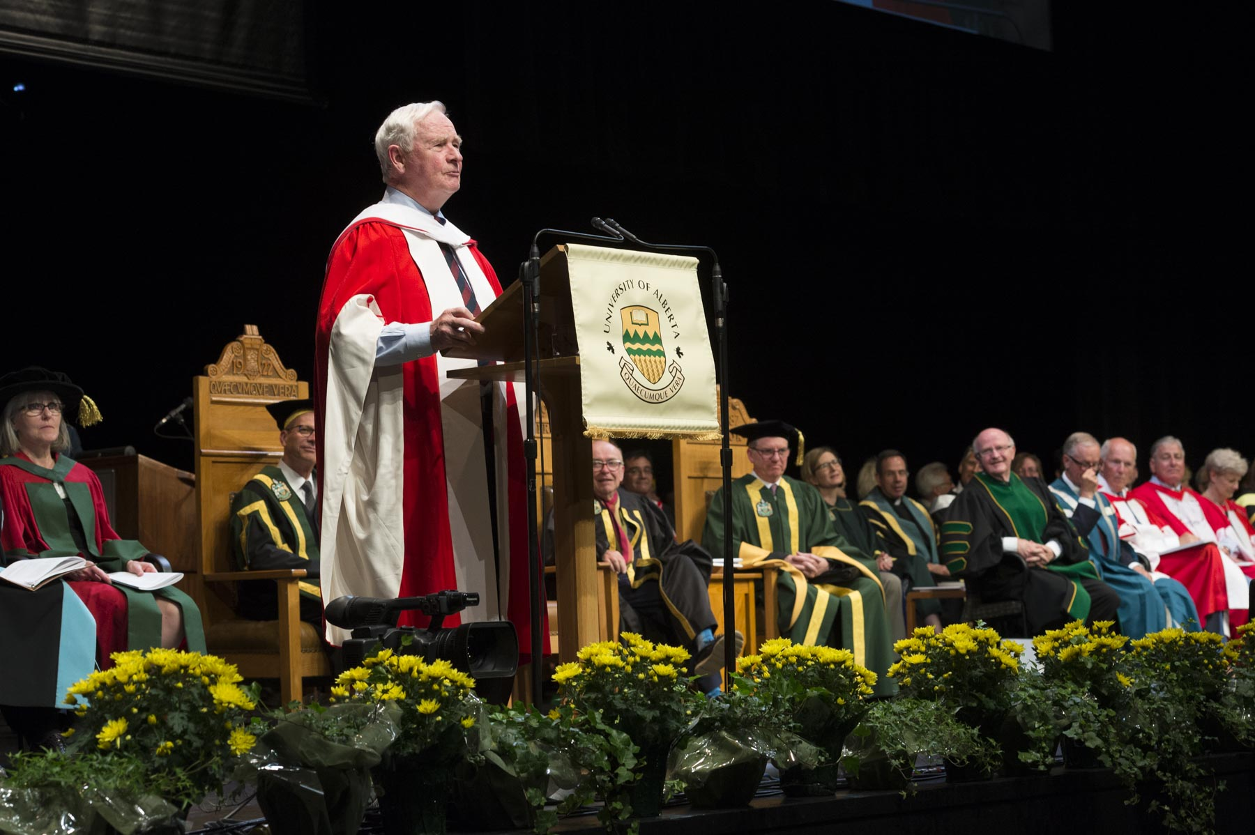 "The Governor General then delivered the convocation address: ""Thank you for bestowing upon me this honorary doctorate from this great university. I'm honoured to be associated with a group of faculty and students who together are doing great things for Canada and for the world."""