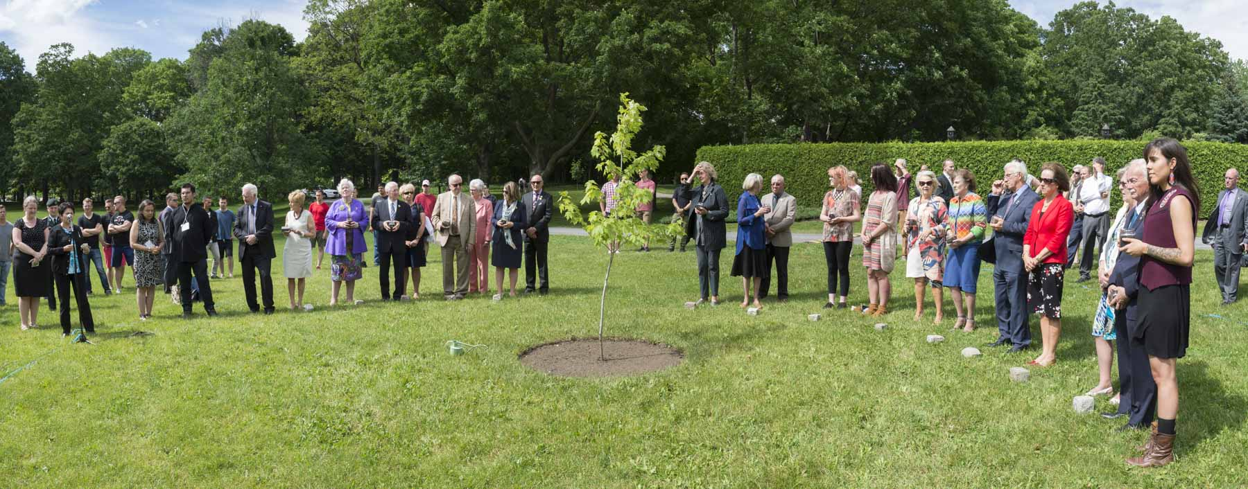 As part of the 2017 Annual Conference of the Governor General, Lieutenant Governors and Territorial Commissioners at Rideau Hall, Their Excellencies the Right Honourable David Johnston, Governor General of Canada, and Mrs. Sharon Johnston, joined by their viceregal colleagues, marked the 150th anniversary of Confederation with the planting of the Regal Celebration Maple tree on the grounds on June 20, 2017.