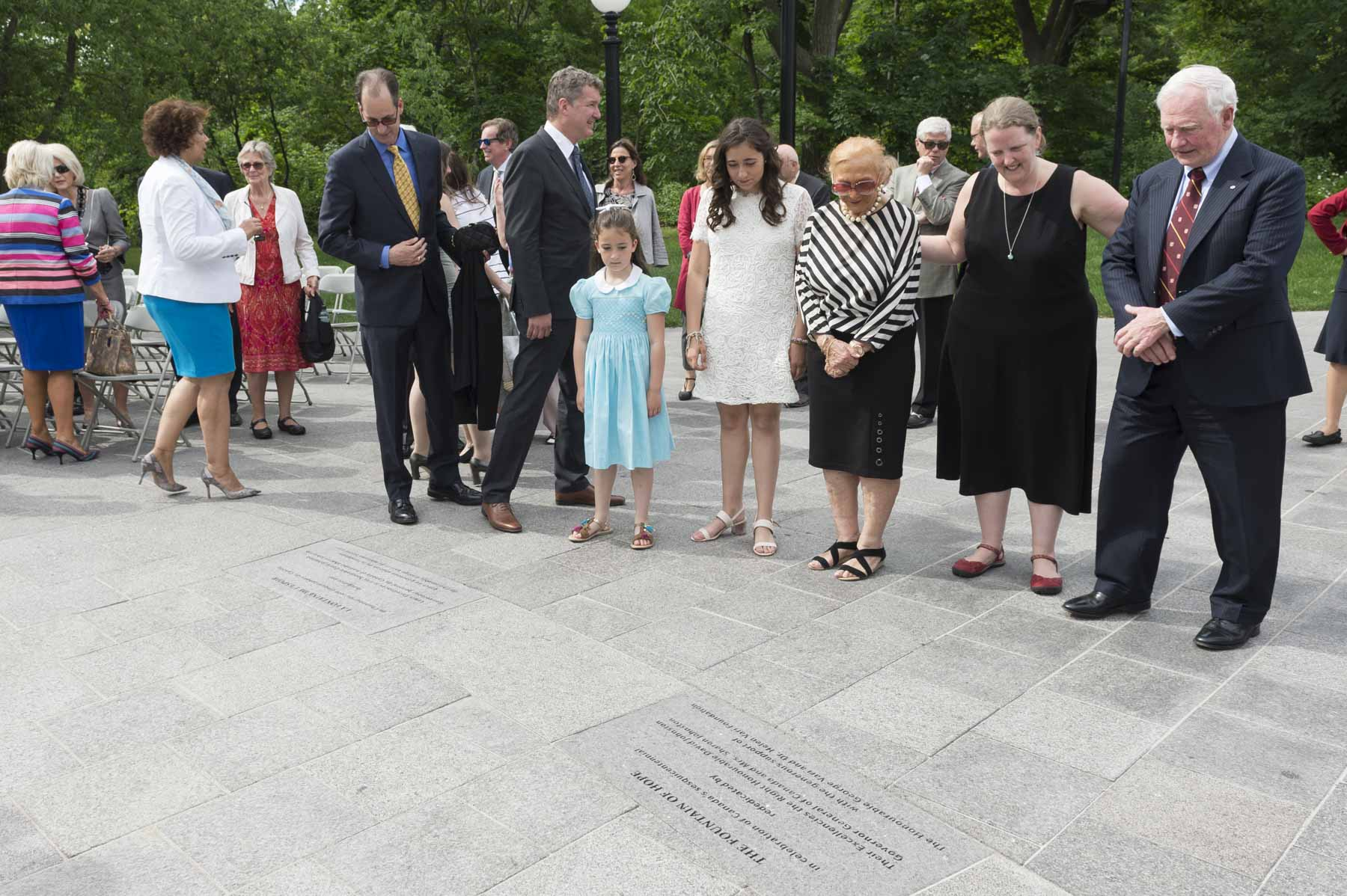 The Governor General admiring The Fountain of Hope plaque.
