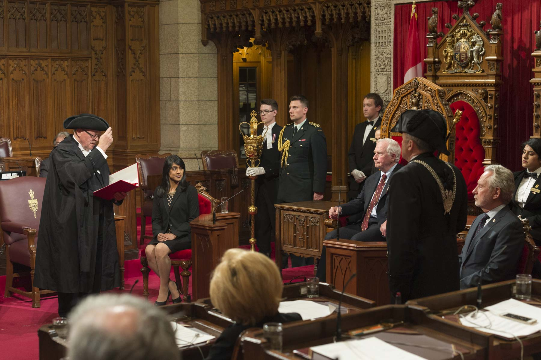 As The Queen's representative in Canada, His Excellency the Right Honourable David Johnston, Governor General of Canada, attended a traditional Royal Assent ceremony in the Senate Chamber on Parliament Hill, in Ottawa. On June 19, 2017.