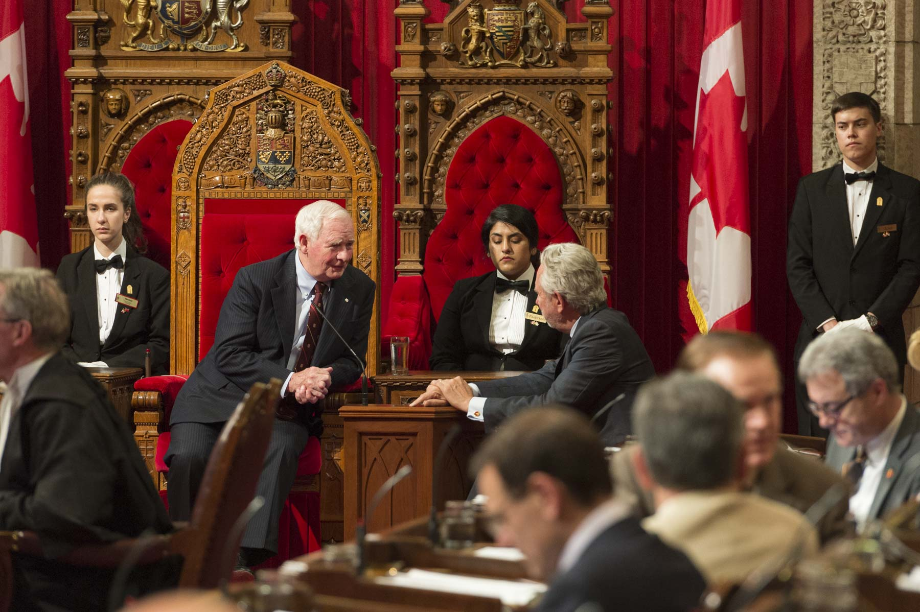 The Governor General granted Royal Assent to bills passed by both the Senate and the House of Commons, thereby making them Acts of Parliament.