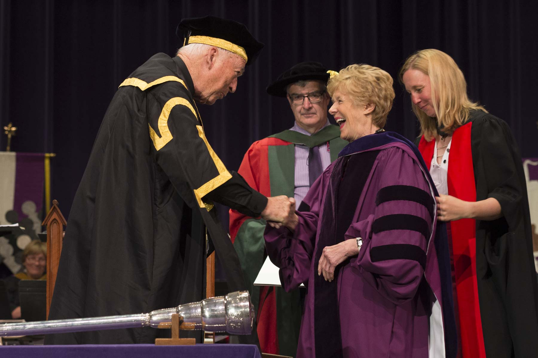 Chancellor Jack Cowin congratulated Her Excellency after she received her honorary degree.