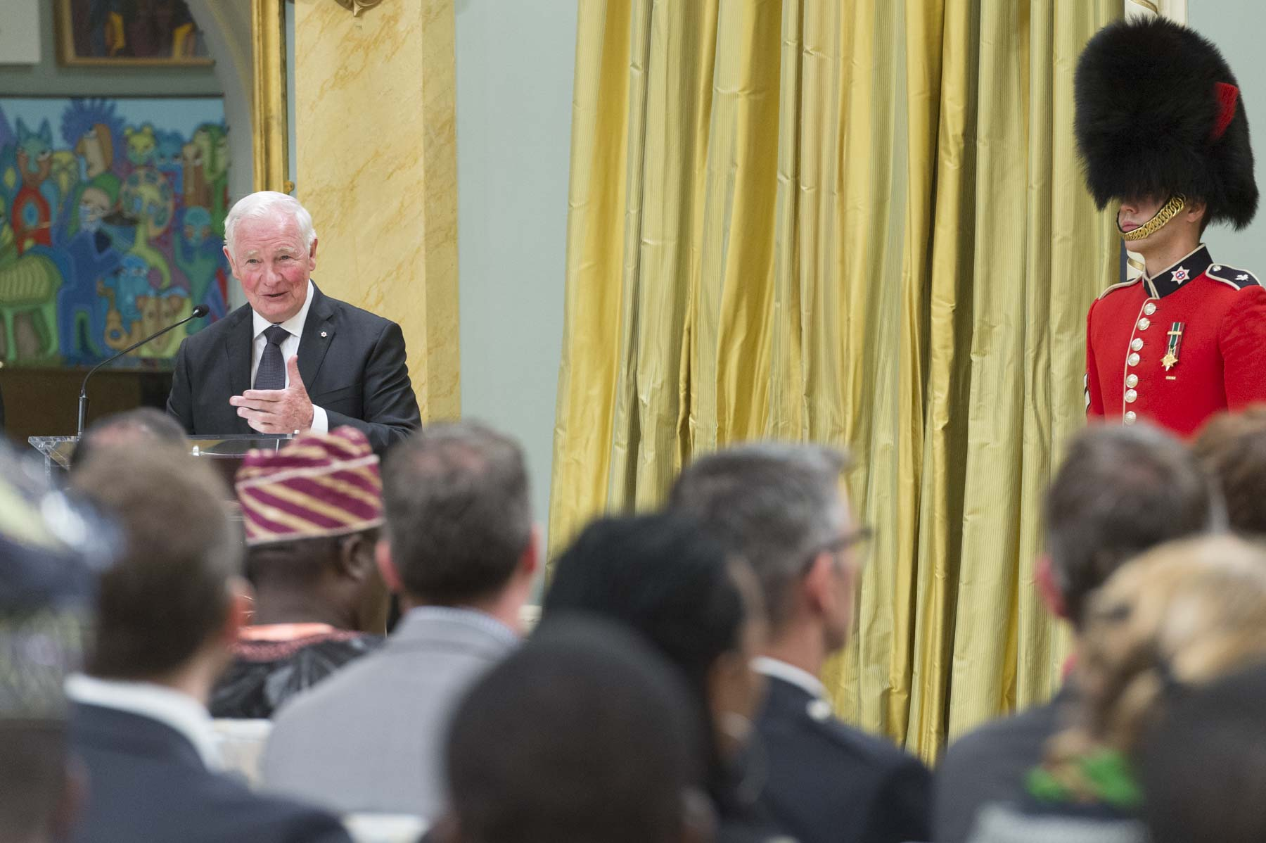 """Diplomacy is of great importance in this complex, interconnected world. At its best, diplomacy brings people together. It bridges differences. It builds on the strengths of nations, rather than dividing by weaknesses. That's the kind of diplomacy Canada seeks to engage in with the countries you represent, and I thank you all for being here,"" said the Governor General."