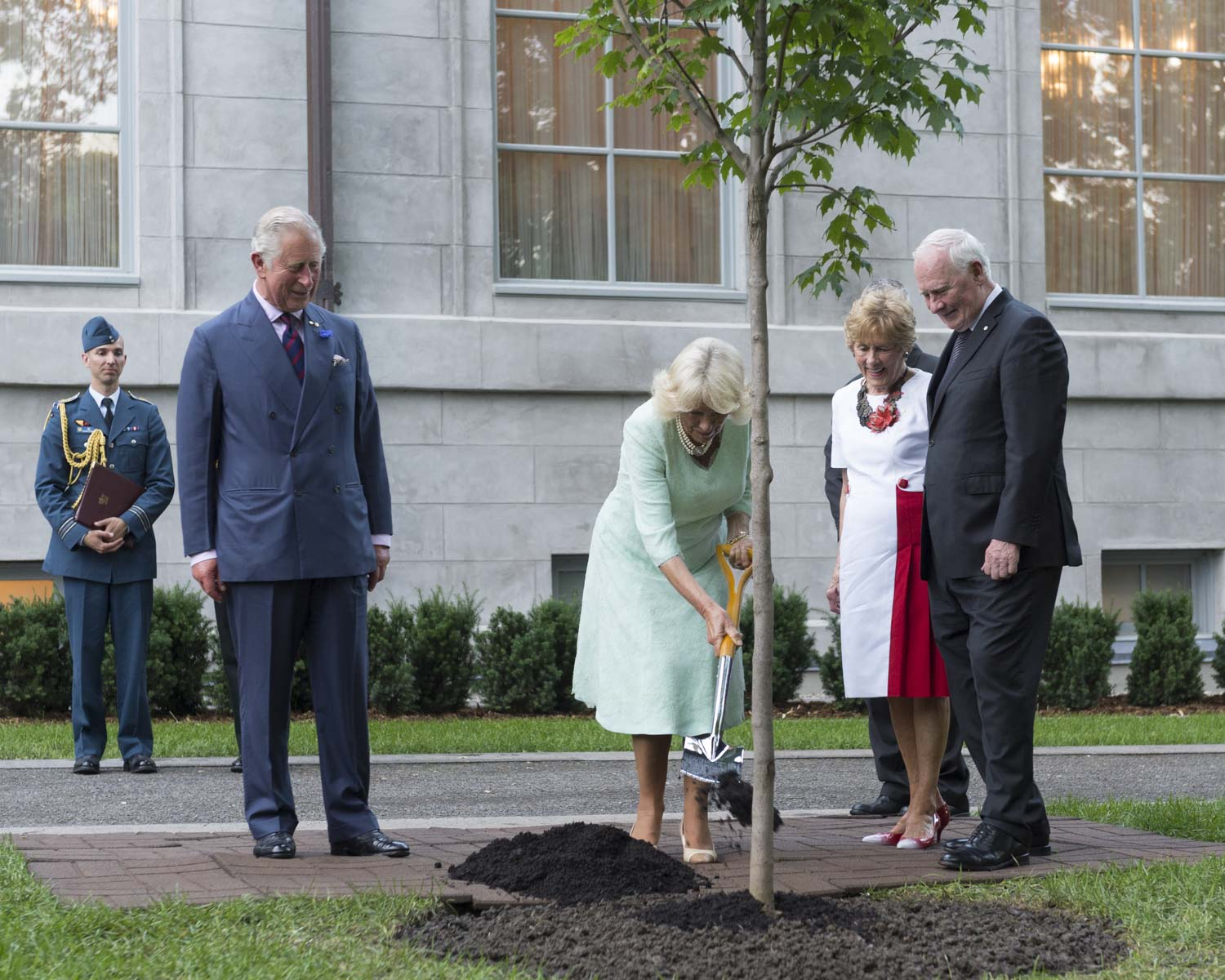 The tree is located in the Royal grove area of Rideau Hall, near the residence. It is located next to the tree planted by Her Majesty Queen Elizabeth II in 2010. Since 1939, Her Majesty The Queen and members of the Royal Family have planted 17 ceremonial trees on the grounds of Rideau Hall.