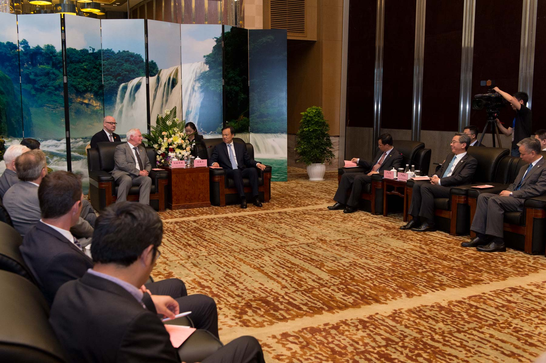 Members of the Canadian delegation and representatives of the Guizhou government joined them for the meeting.