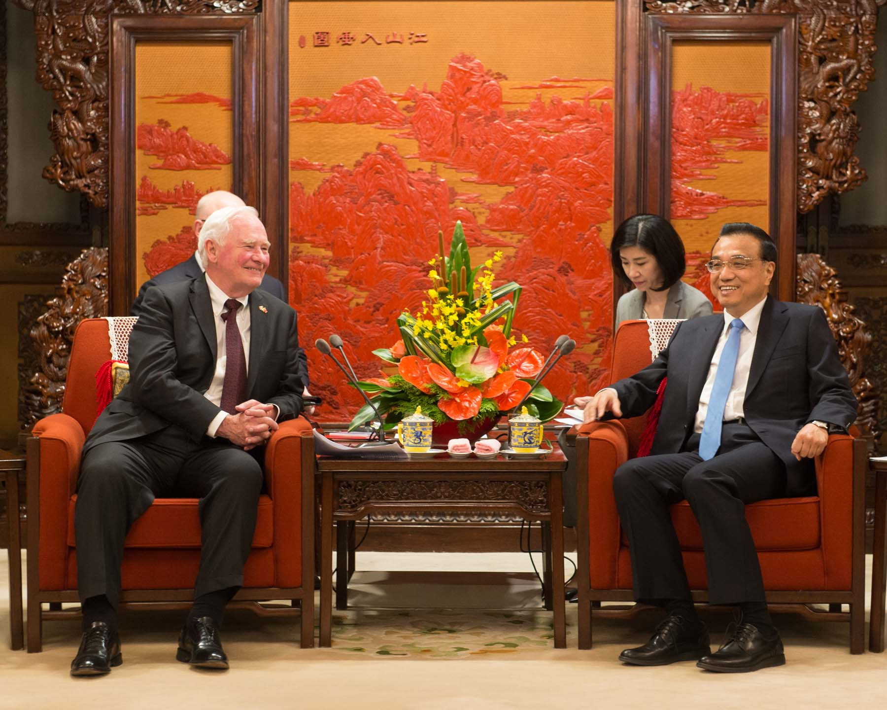 The Governor General met Premier Li in 2013 when Their Excellencies undertook a State visit to China, and again in 2016 when Premier Li visited Ottawa.