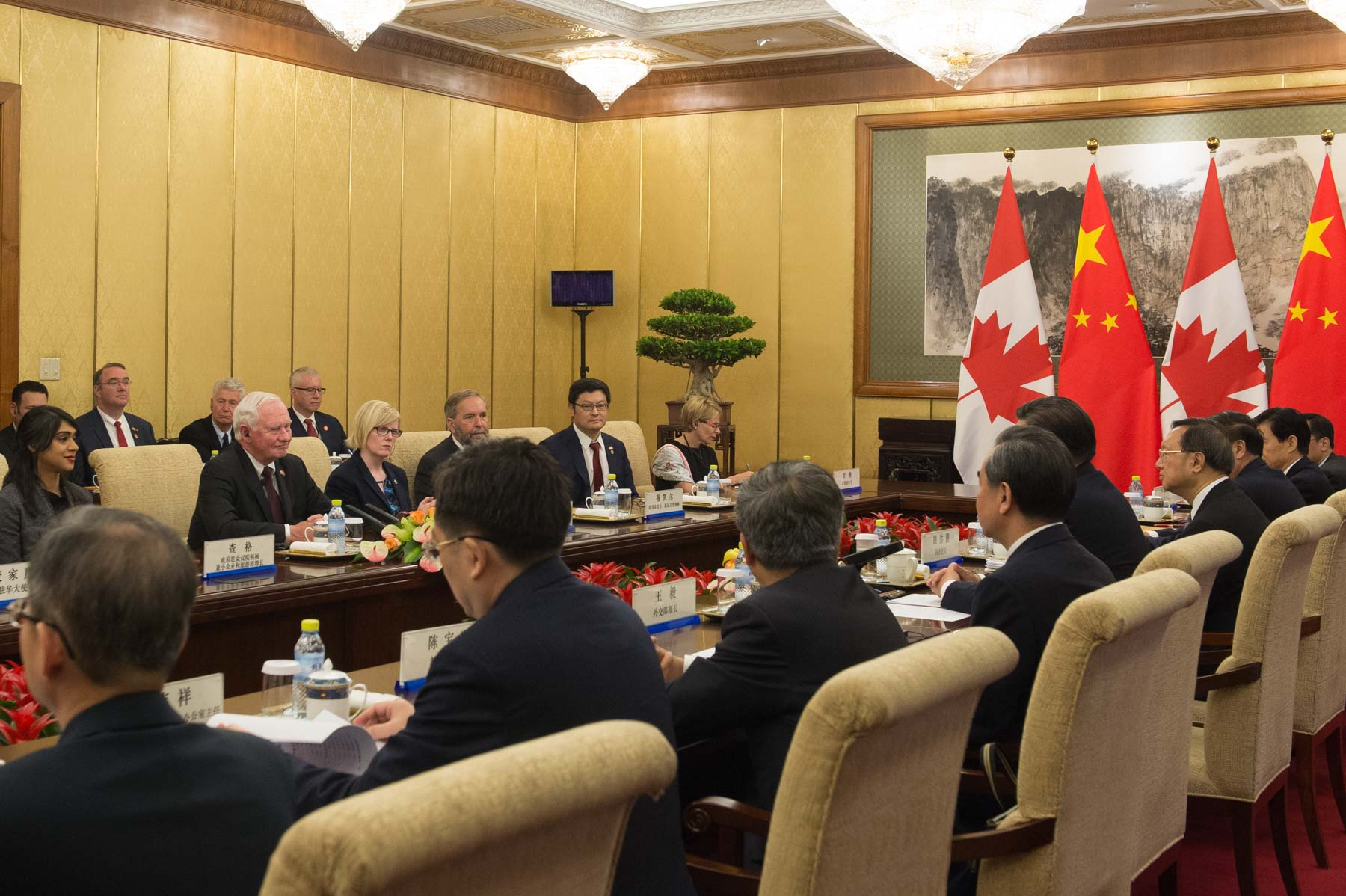 Members of the Canadian delegation and representatives of the Chinese government joined them for the meeting.