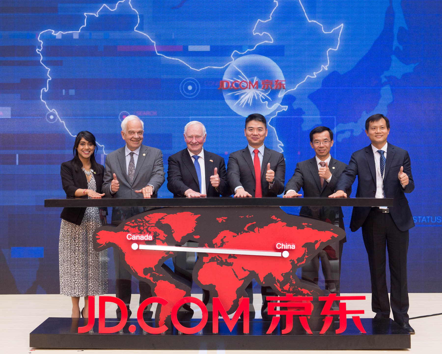 Before leaving JD.com, the Governor General, Minister Chagger and Ambassador McCallum, participated in the launch the Canadian Fresh Food Pavilion on JD.com.