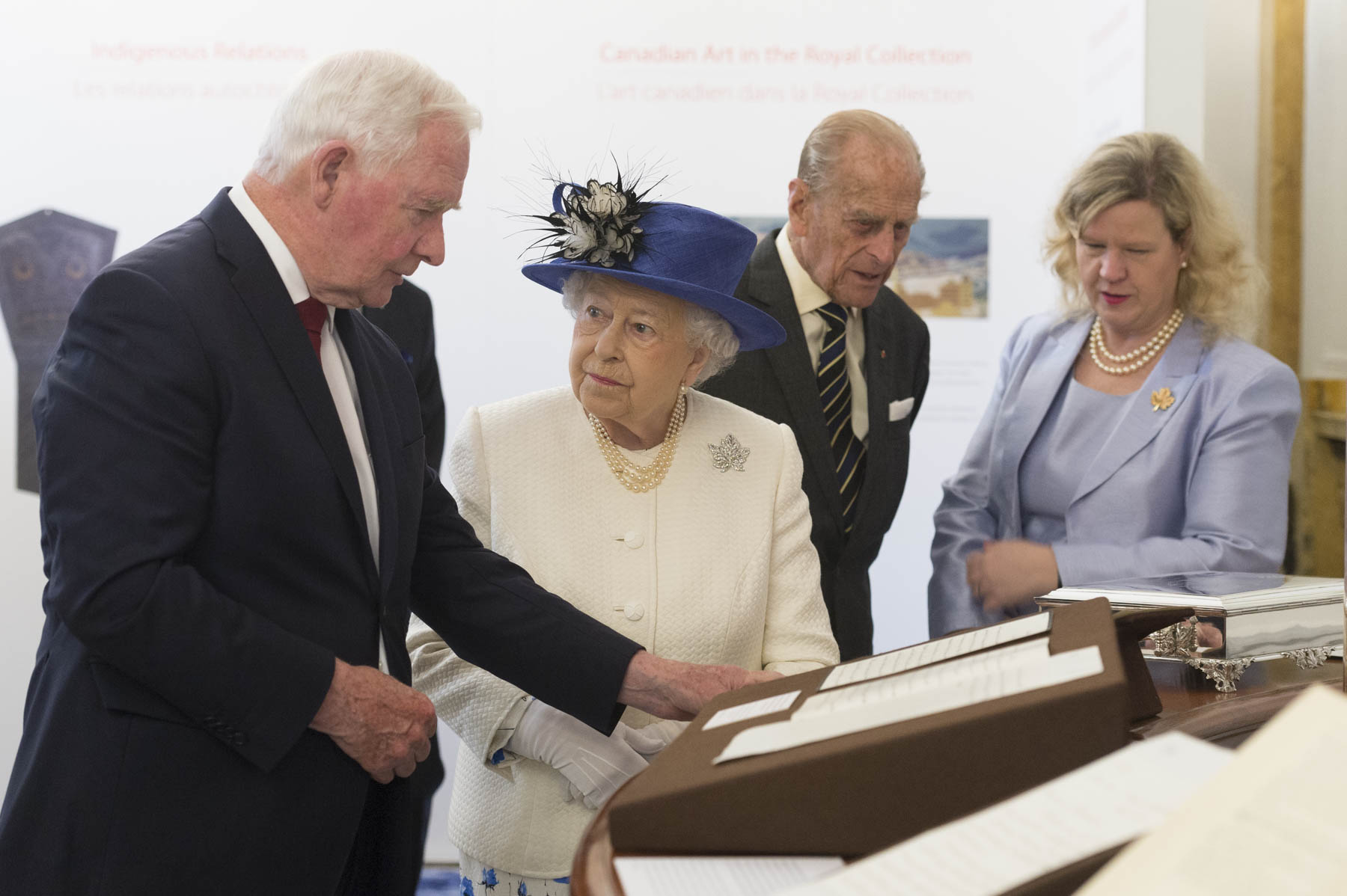 Upon their arrival, Her Majesty and His Royal Highness viewed artifacts and displays celebrating Canada 150.