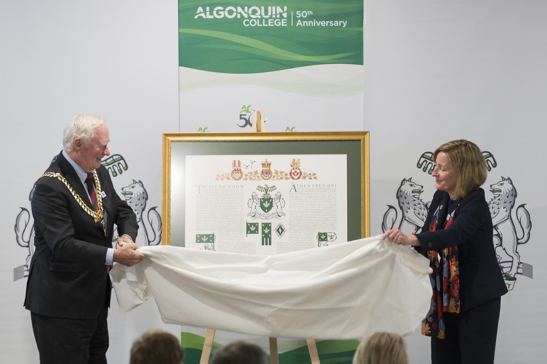 The Governor General and the President unveiled the college's new Arms, Flags and Badge.