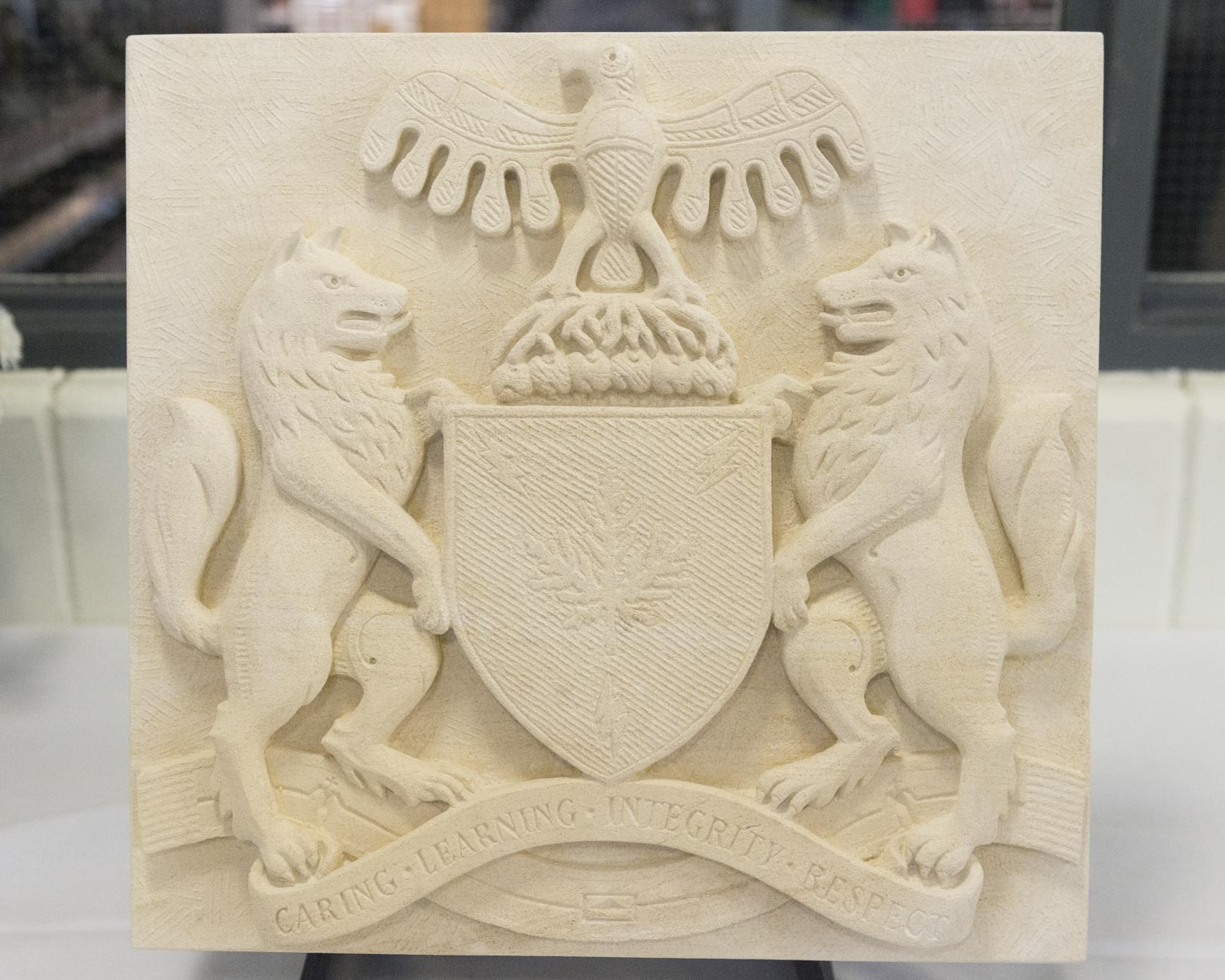 The new coat of arms were proudly displayed during the event, even being carved into stone.