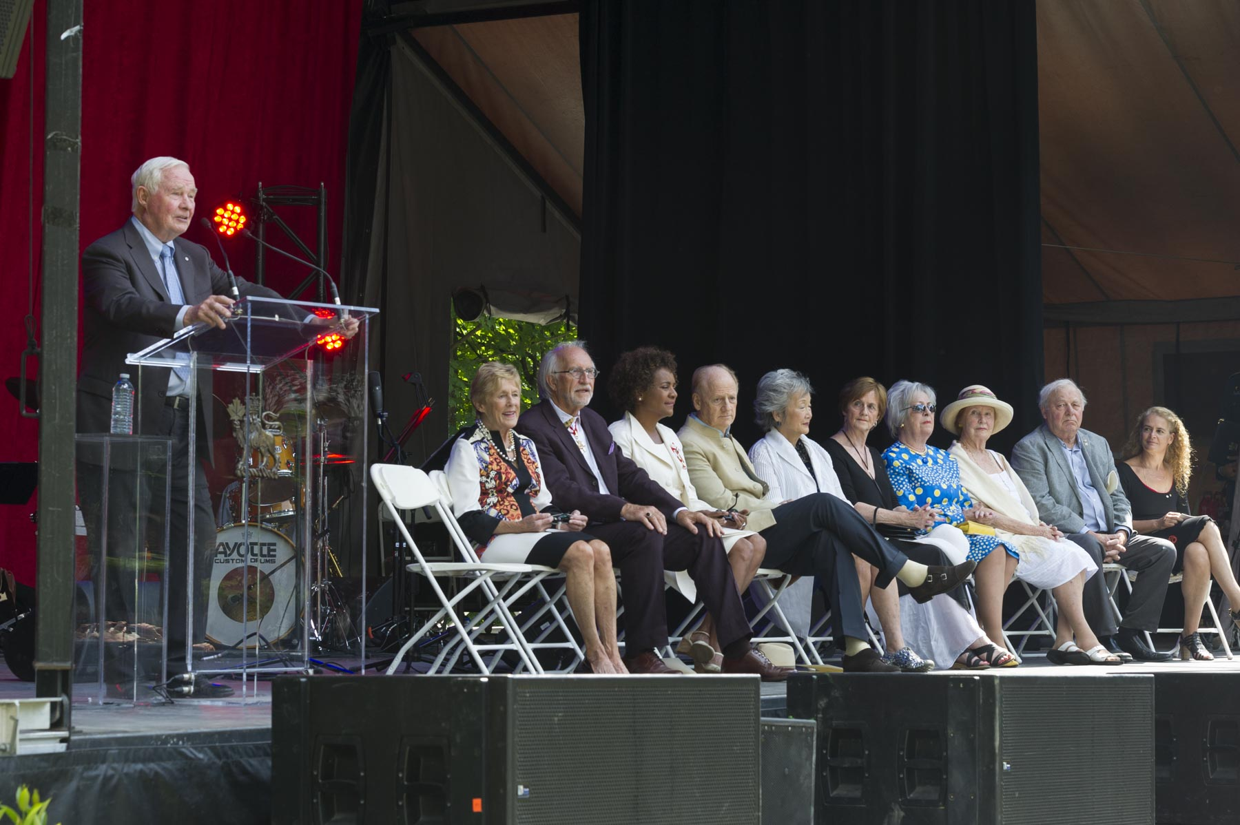Their Excellencies hosted a special gathering to mark the 50th anniversary of the Order of Canada at Rideau Hall. Their predecessors joined them on stage, in addition to Ms. Julie Payette, Governor General Designate.
