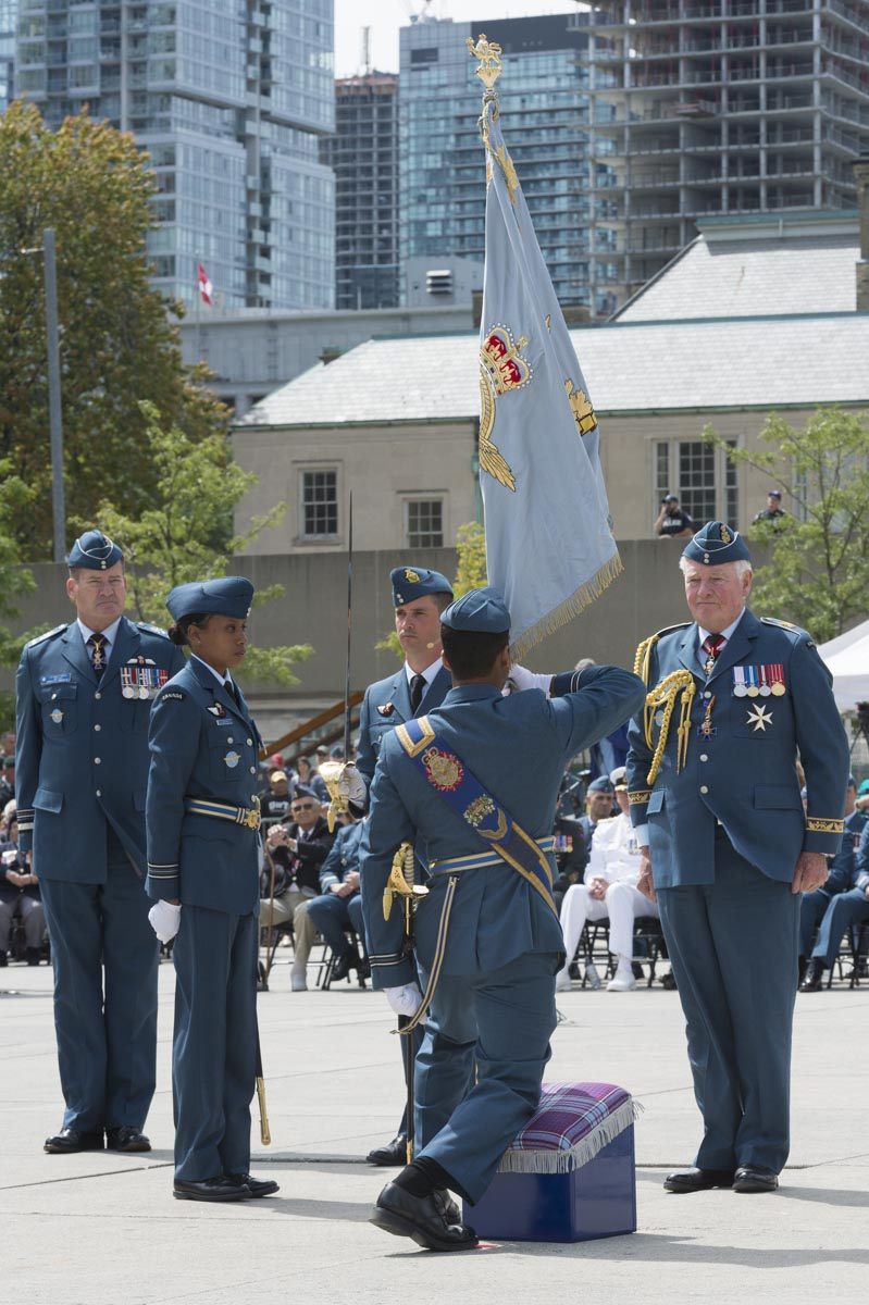 "The new Command Colour reflects the new RCAF badge that was created following the restoration of the RCAF's historic name in 2011, and includes the RCAF's motto Sic itur ad astra: ""Such is the pathway to the stars."""